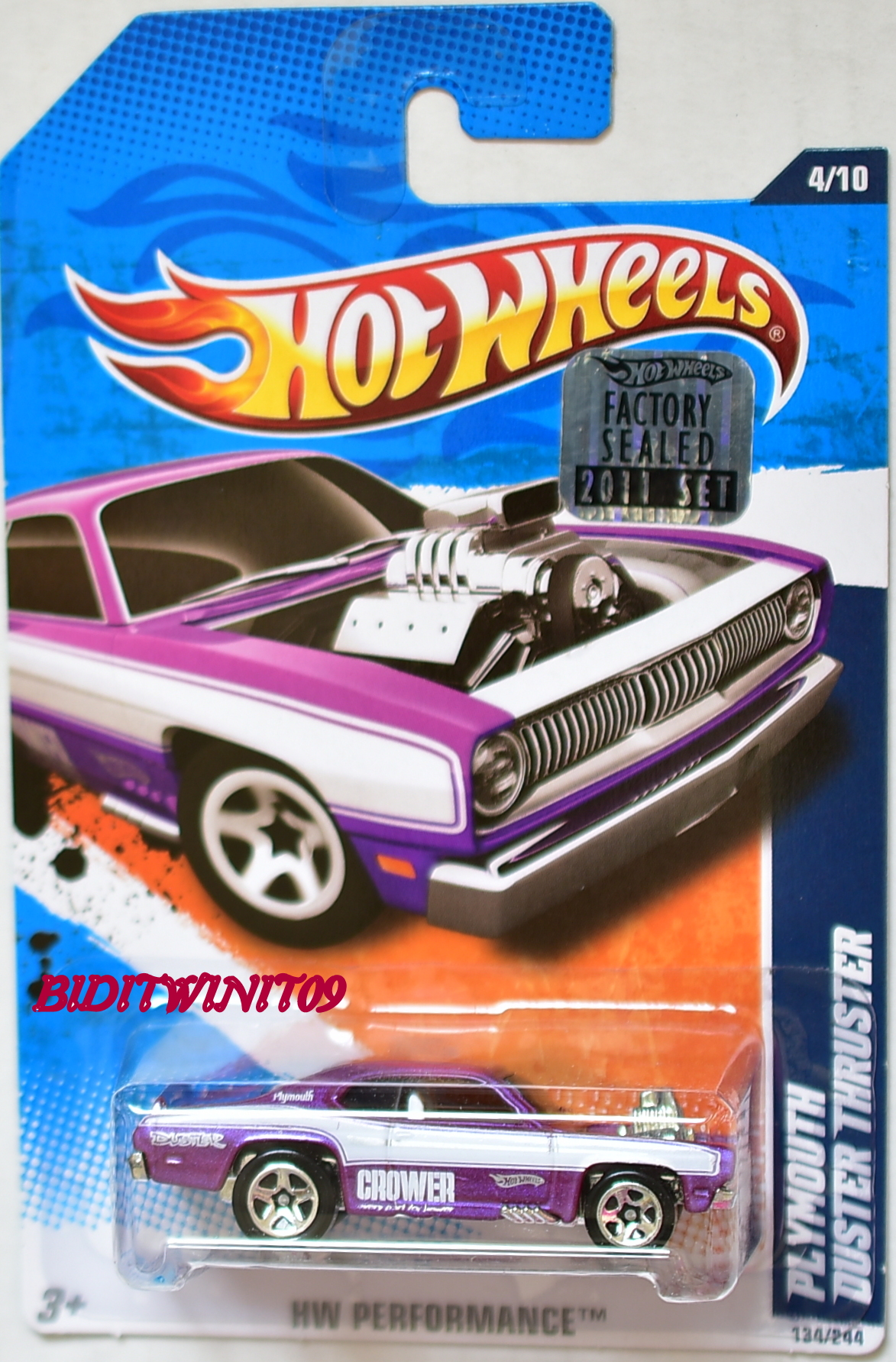 HOT WHEELS 2011 HW PERFORMANCE PLYMOUTH DUSTER THRUSTER PURPLE FACTORY SEALED