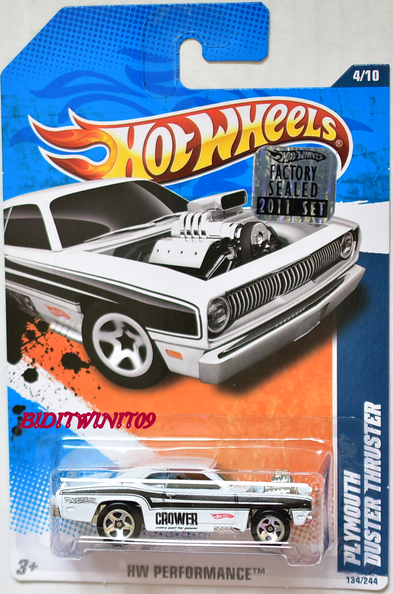 HOT WHEELS 2011 HW PERFORMANCE PLYMOUTH DUSTER THRUSTER WHITE FACTORY SEALED