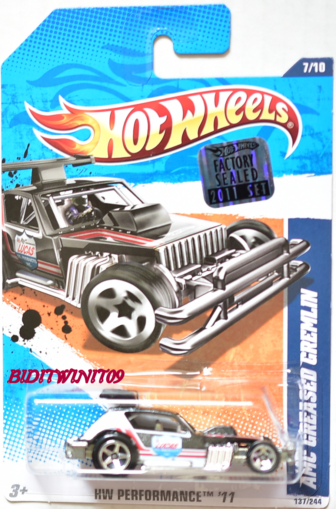 HOT WHEELS 2011 HW PERFORMANCE AMC GREASED GREMLIN BLACK FACTORY SEALED
