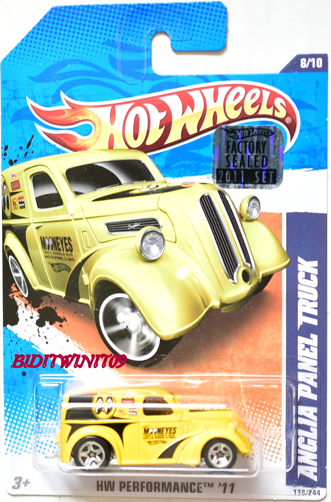 HOT WHEELS 2011 HW PERFORMANCE ANGLIA PANEL TRUCK YELLOW MOONEYES FACTORY SEALED