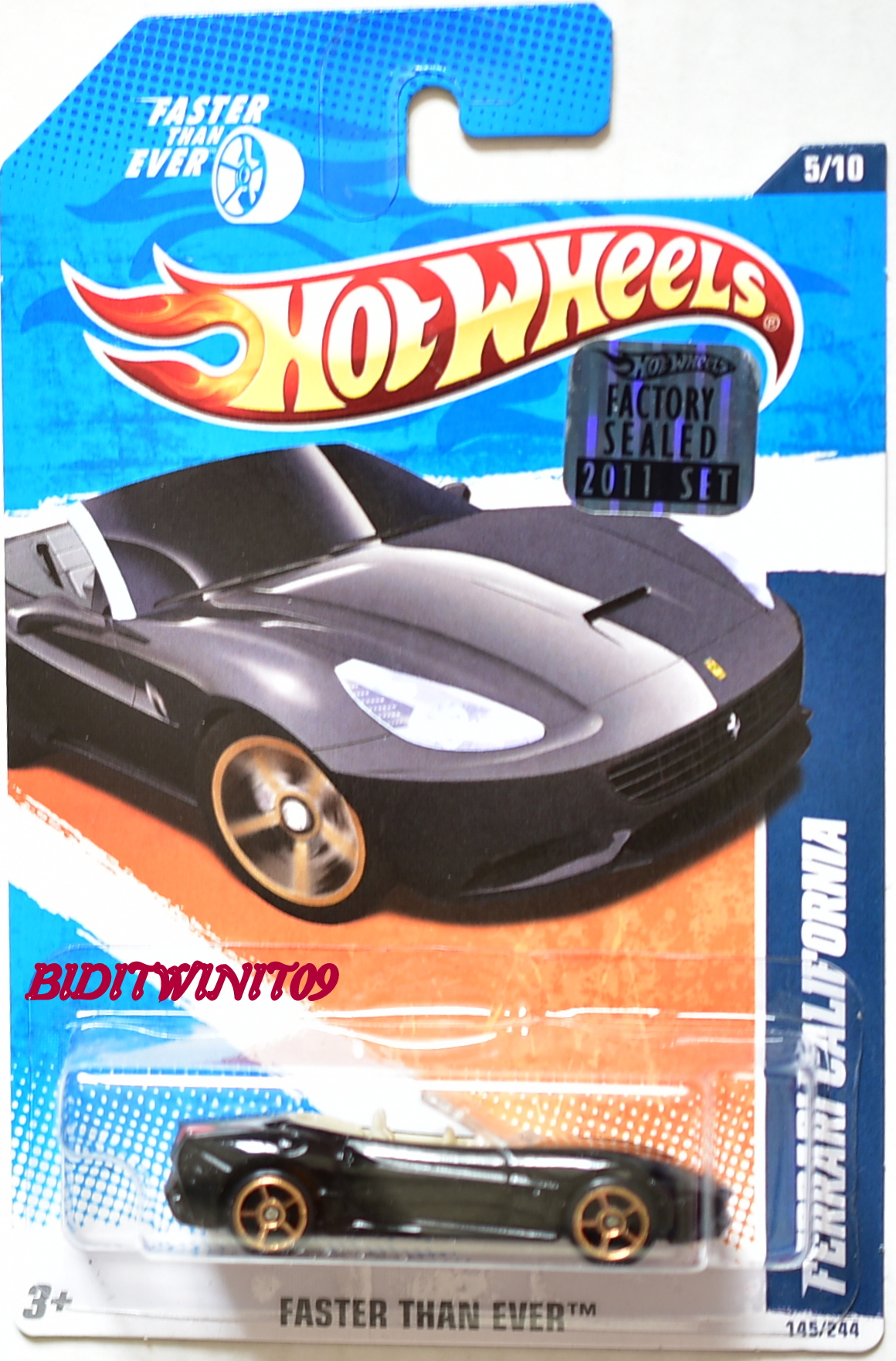 HOT WHEELS 2011 FTE FERRARI CALIFORNIA BLACK FACTORY SEALED - Click Image to Close