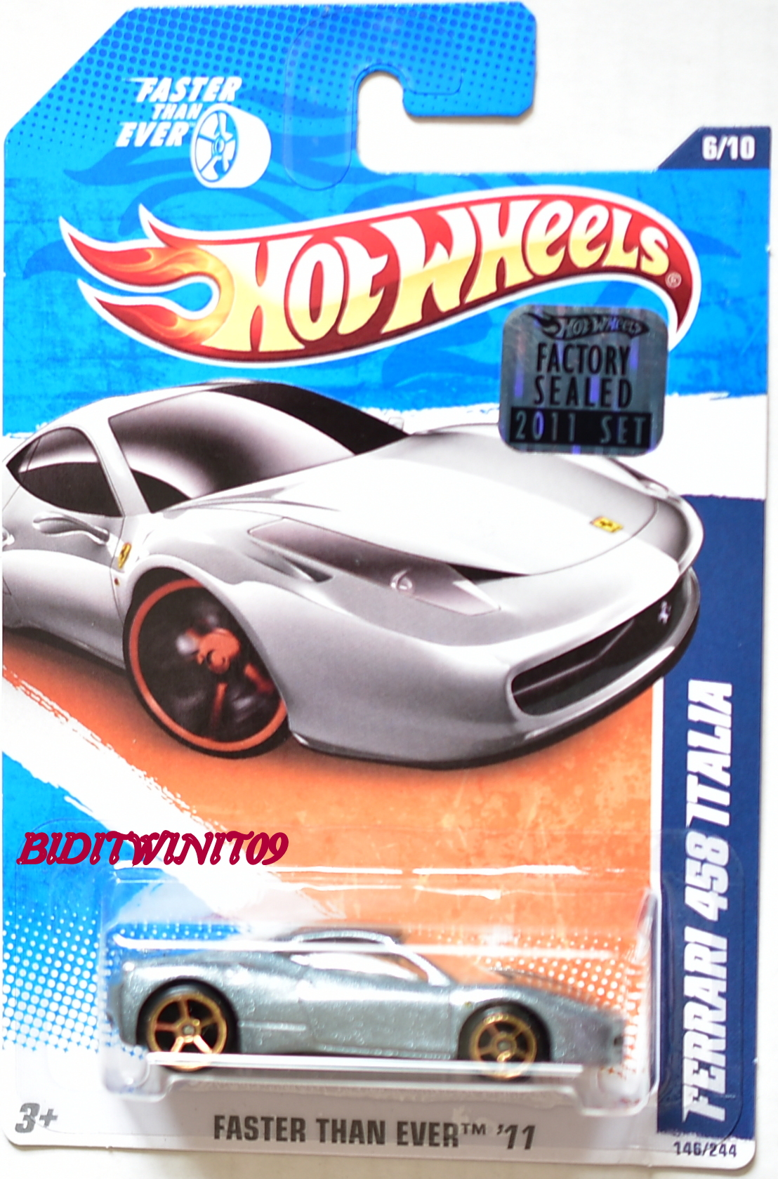 HOT WHEELS 2011 FTE FERRARI 458 ITALIA SILVER FACTORY SEALED
