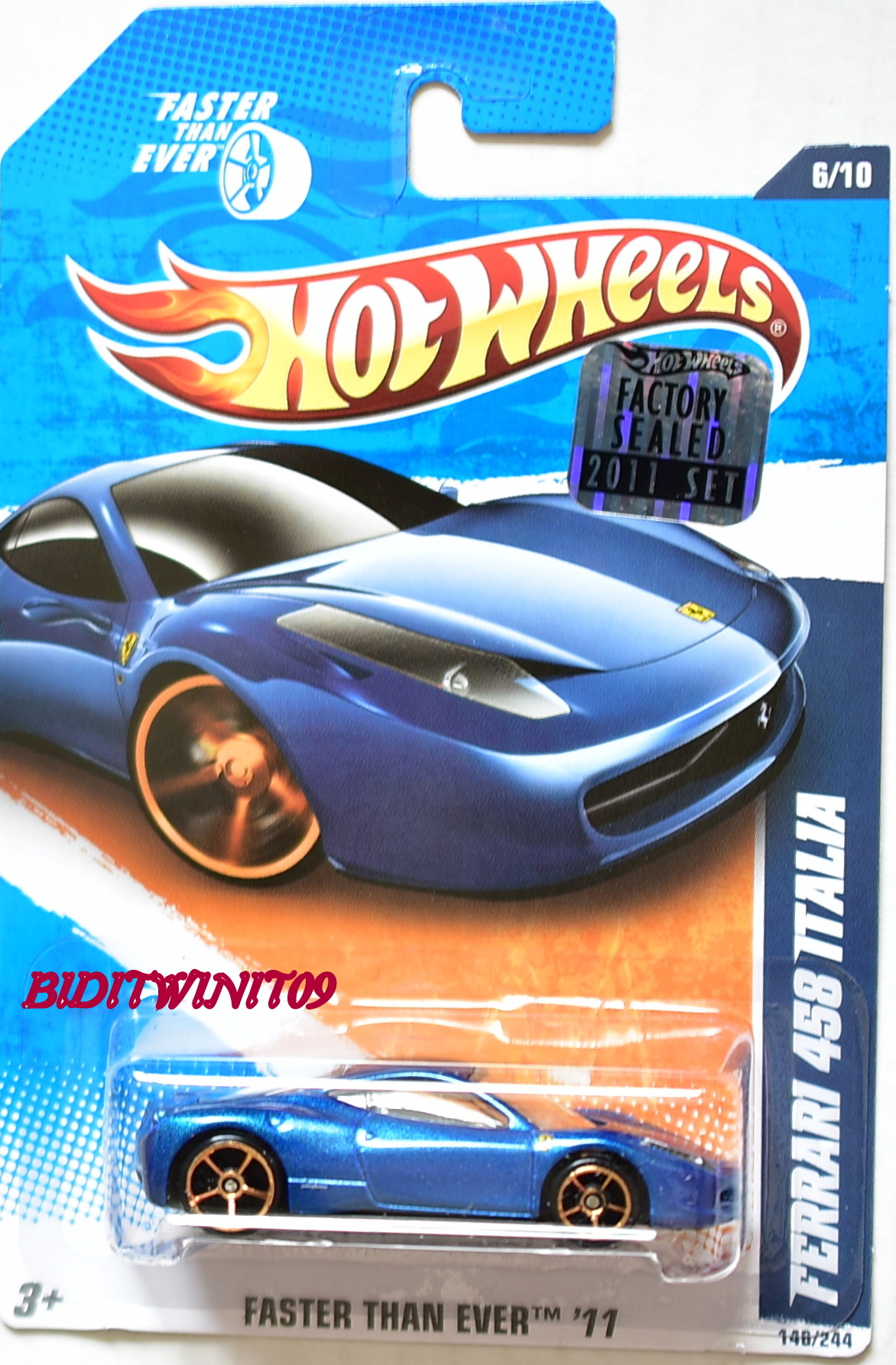 HOT WHEELS 2011 FTE FERRARI 458 ITALIA BLUE FACTORY SEALED - Click Image to Close