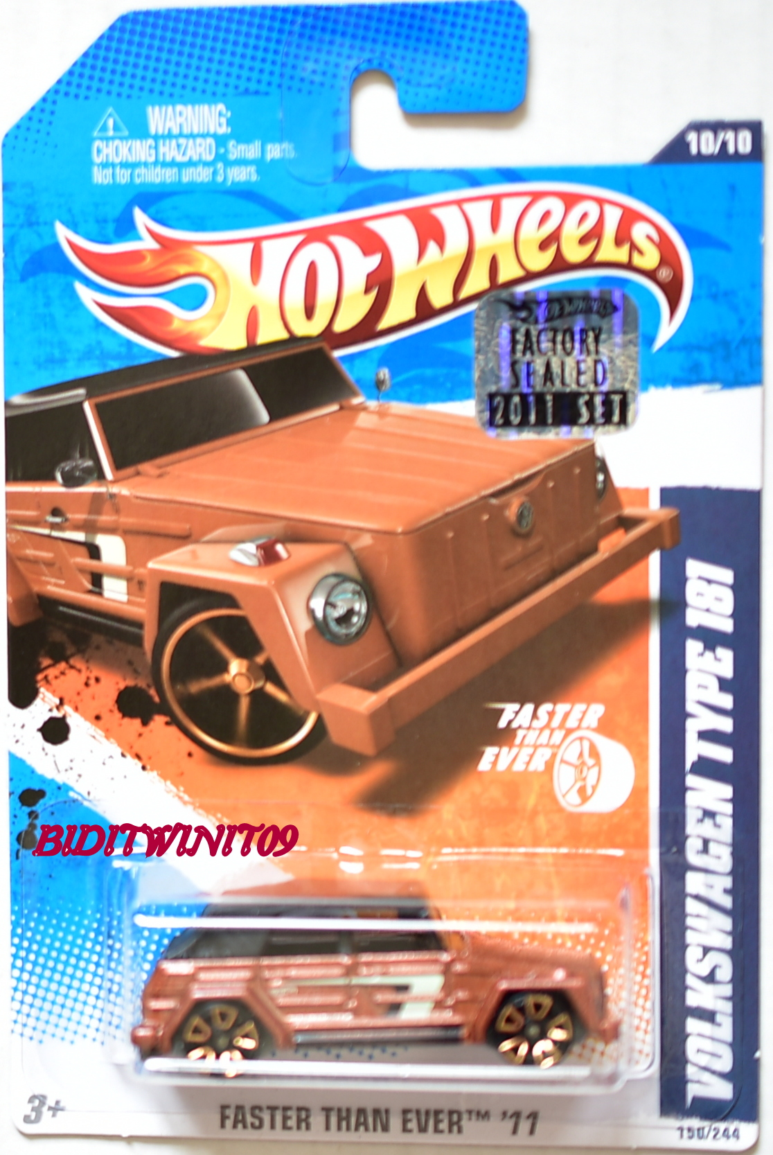 HOT WHEELS 2011 FASTER THAN EVER VOLKSWAGEN TYPE 181 #10/10 FACTORY SEALED