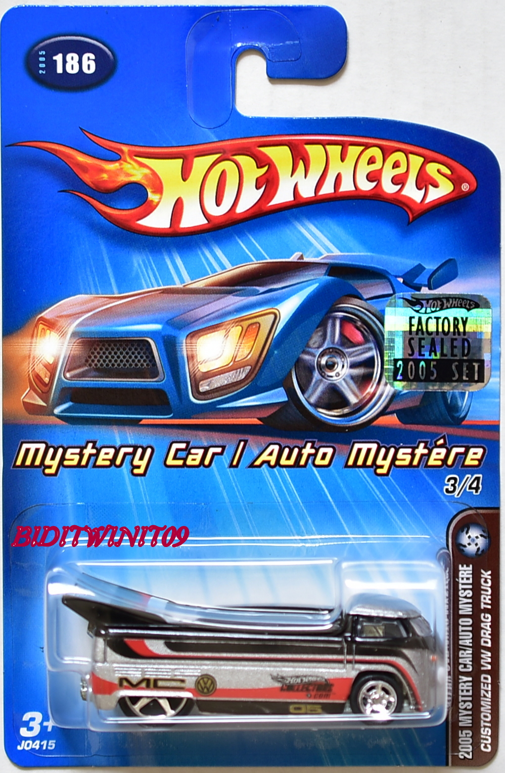 HOT WHEELS 2005 MYSTERY CAR CUSTOMIZED VW DRAG TRUCK #186 FACTORY SEALED E+