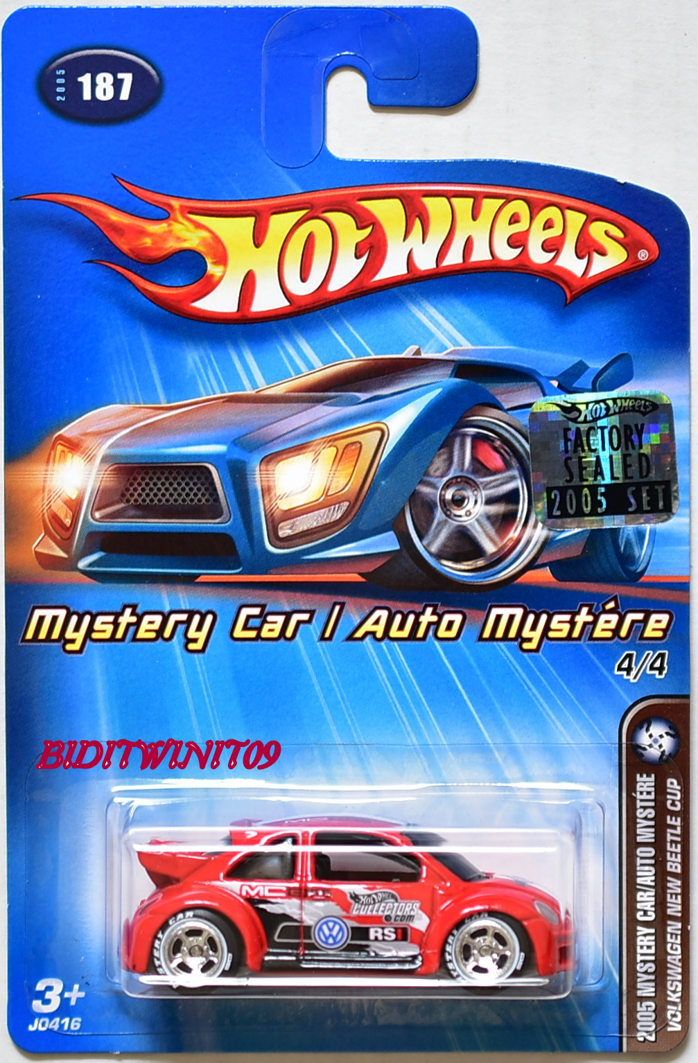 HOT WHEELS 2005 MYSTERY CAR VOLKSWAGEN NEW BEETLE CUP #187 FACTORY SEALED