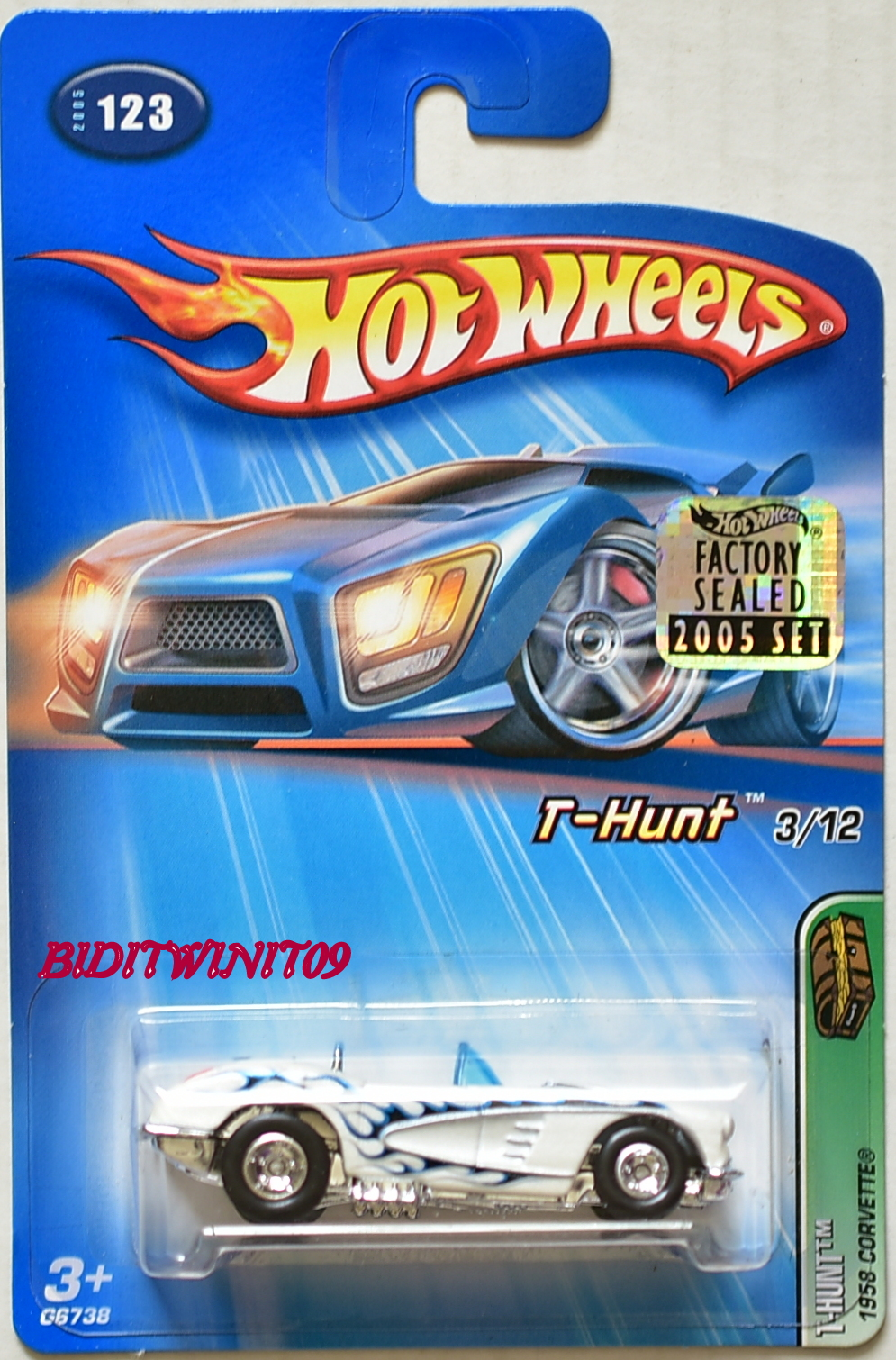 HOT WHEELS 2005 TREASURE HUNT 1958 CORVETTE #123 FACTORY SEALED
