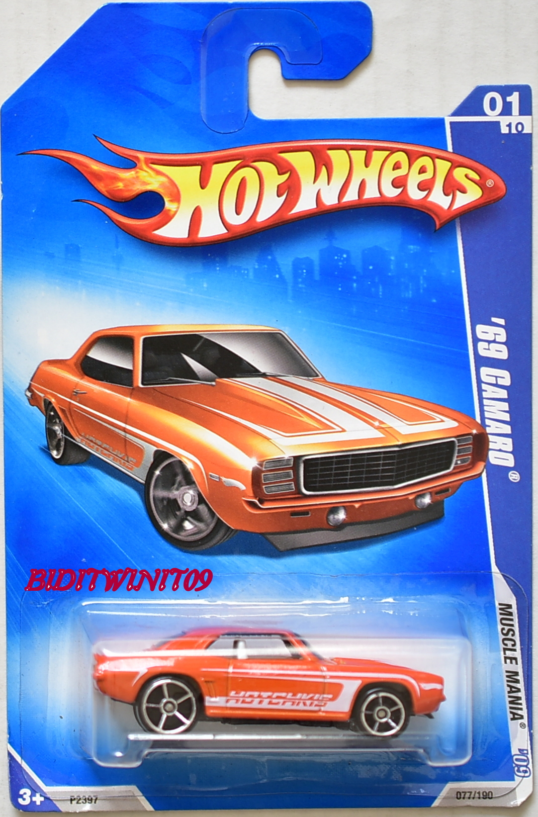 HOT WHEELS 2009 MUSCLE MANIA '69 CAMARO #01/10 ORANGE E+