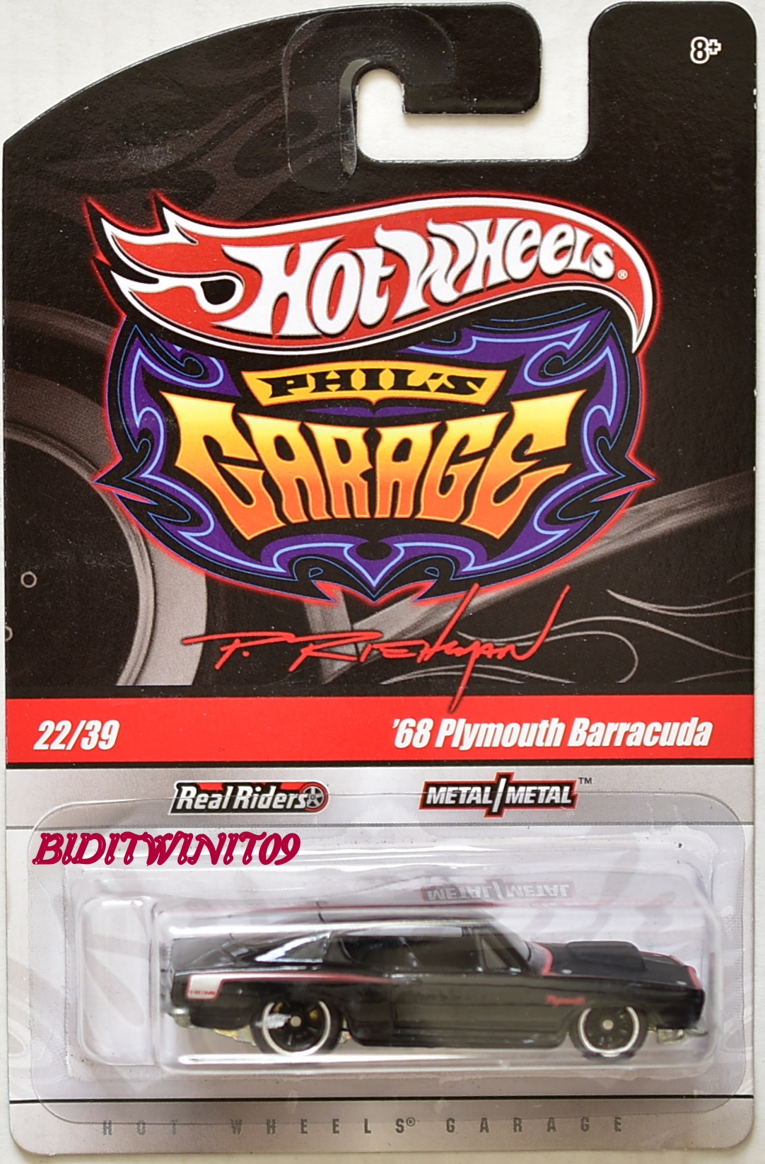 HOT WHEELS PHIL'S GARAGE '68 PLYMOUTH BARRACUDA #22/39 BLACK