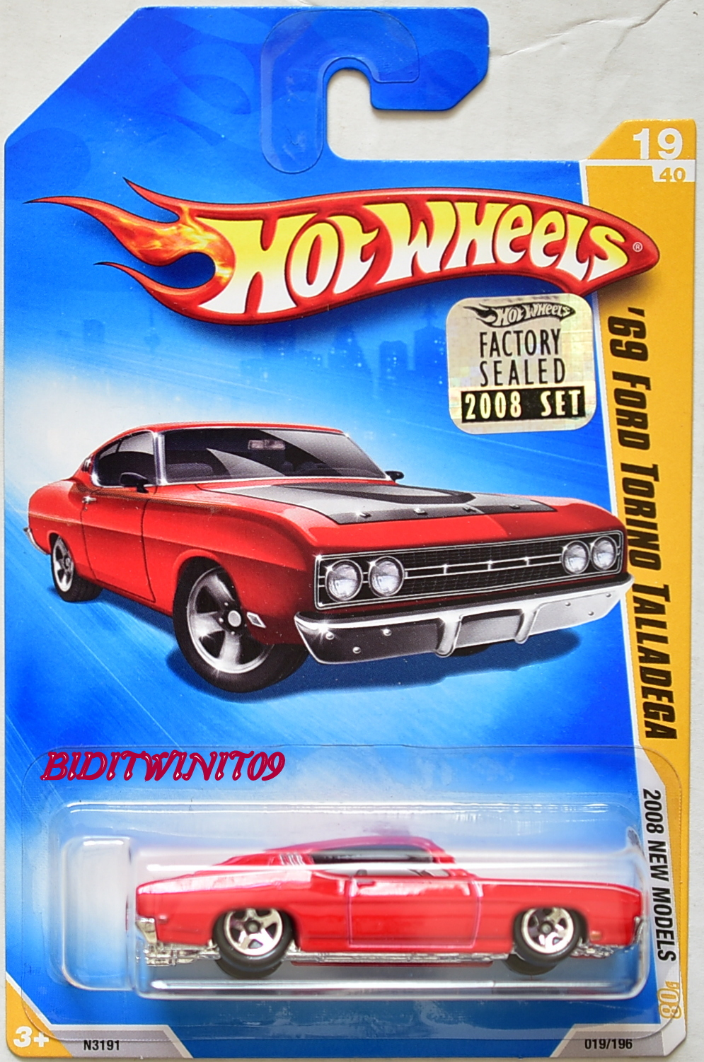 HOT WHEELS 2008 NEW MODELS '69 FORD TORINO TALLADEGA #19/40 RED FACTORY SEALED