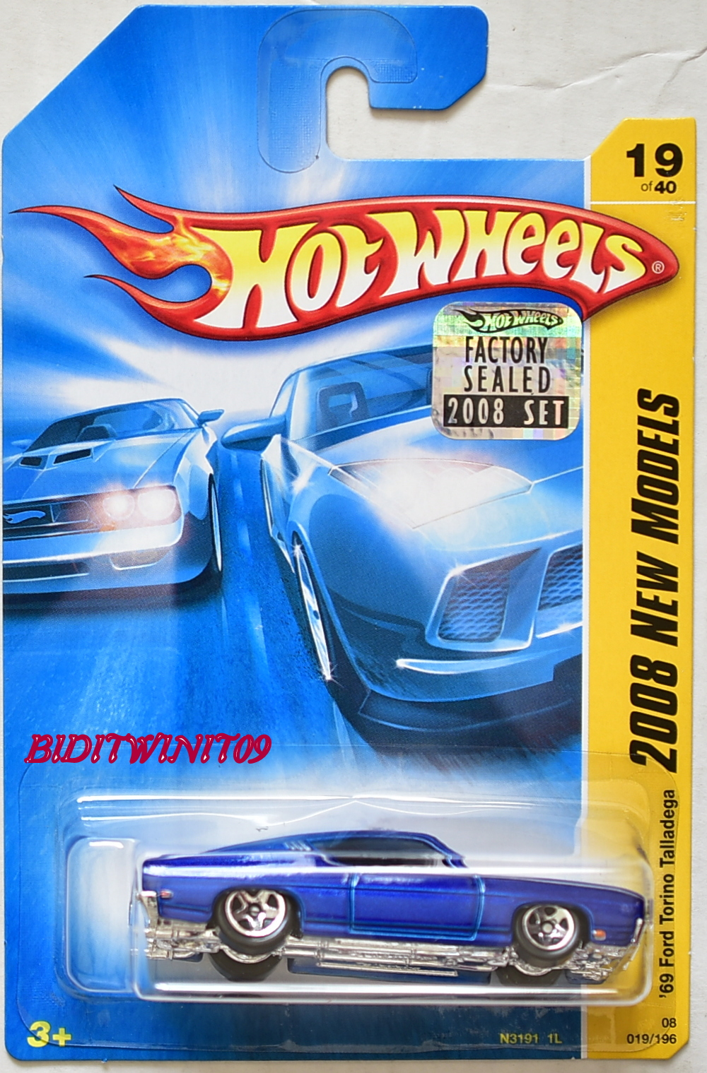 HOT WHEELS 2008 NEW MODELS '69 FORD TORINO TALLADEGA #19/40 BLUE FACTORY SEALED