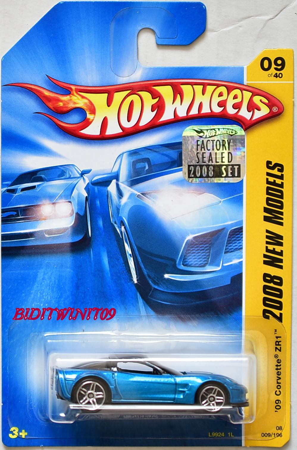 HOT WHEELS 2008 NEW MODELS '09 CORVETTE ZR1 #09/40 BLUE FACTORY SEALED