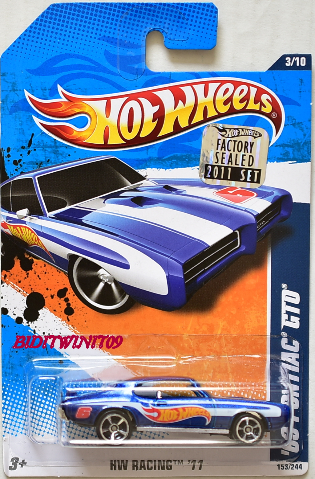 HOT WHEELS 2011 HW RACING '69 PONTIAC GTO BLUE FACTORY SEALED