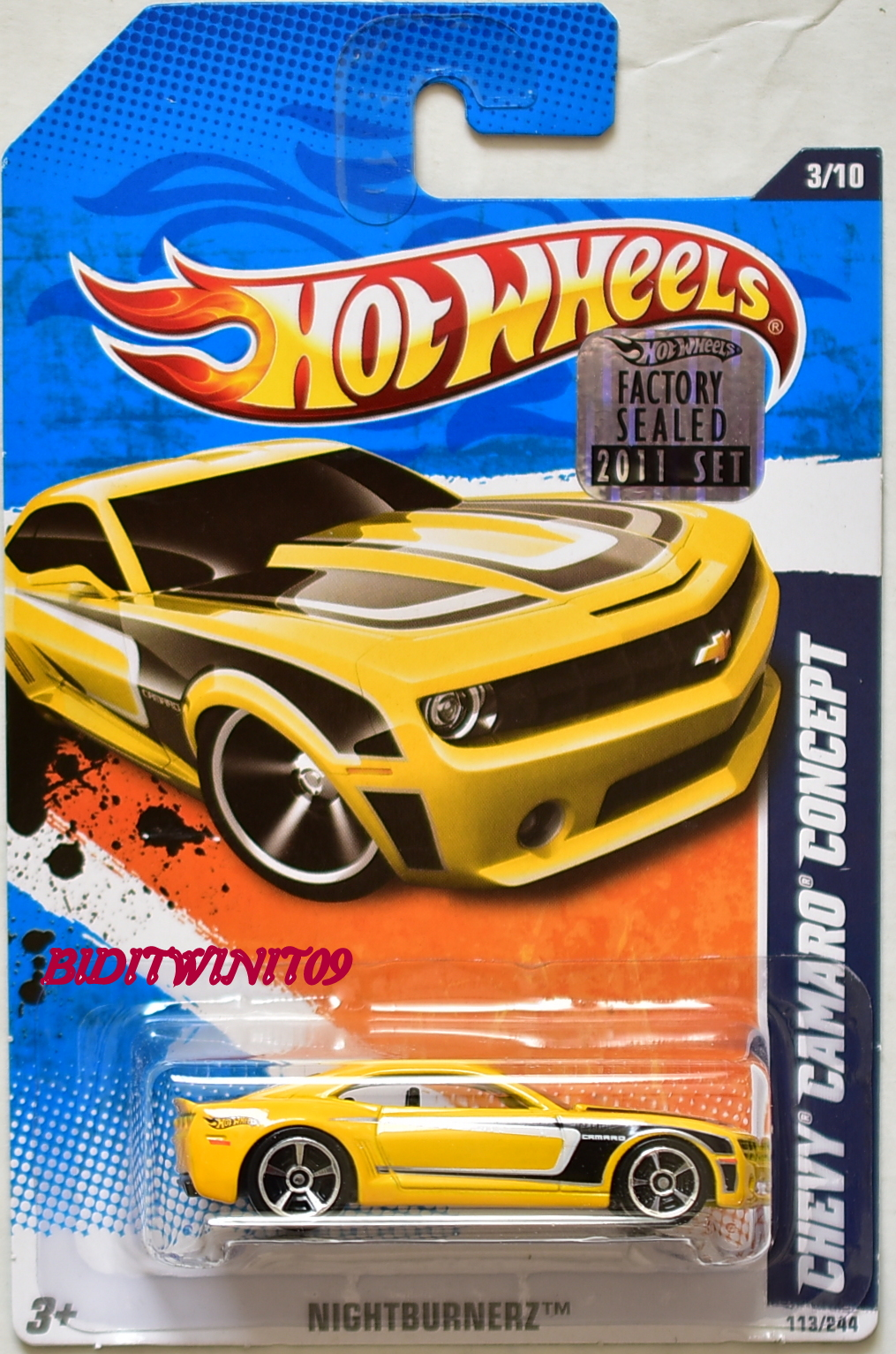 HOT WHEELS 2011 NIGHTBURNERZ CHEVY CAMARO CONCEPT YELLOW FACTORY SEALED E+