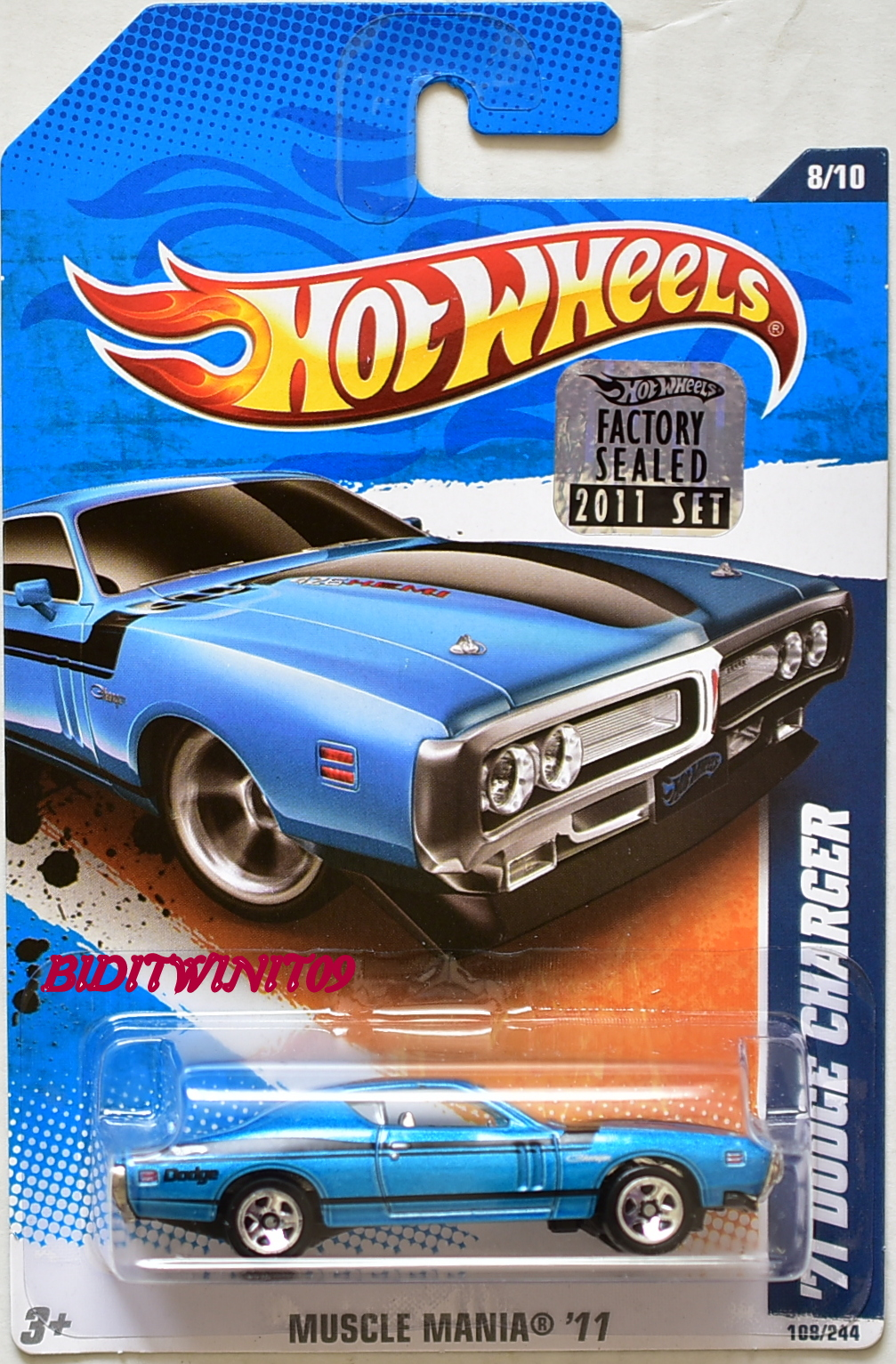 HOT WHEELS 2011 MUSCLE MANIA '71 DODGE CHARGER BLUE FACTORY SEALED