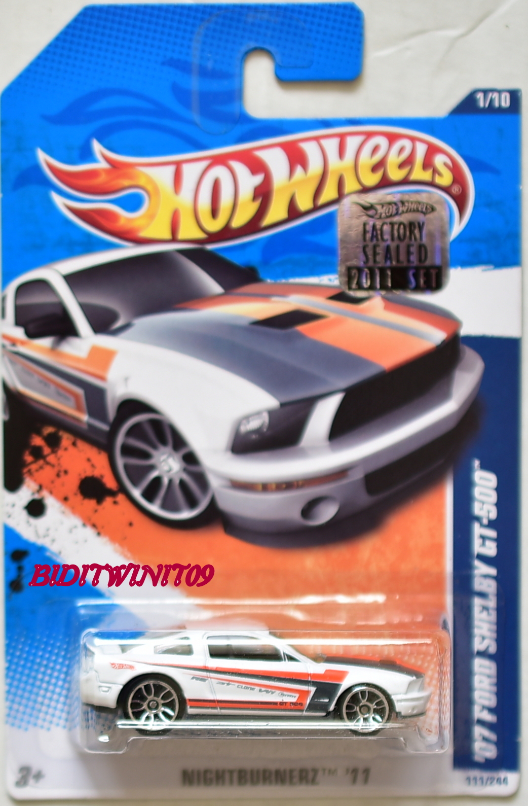 HOT WHEELS 2011 NIGHTBURNERZ '07 FORD SHELBY GT-500 #1/10 WHITE FACTORY SEALED