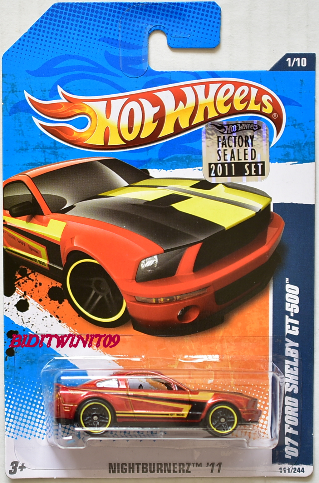 HOT WHEELS 2011 NIGHTBURNERZ '07 FORD SHELBY GT-500 #1/10 FACTORY SEALED
