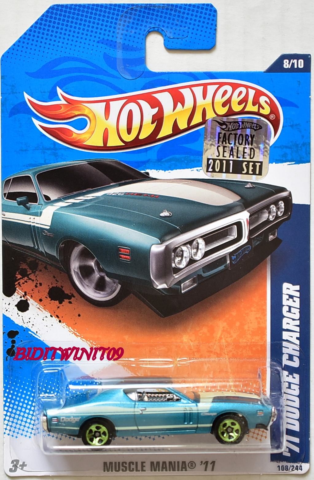 HOT WHEELS 2011 MUSCLE MANIA '71 DODGE CHARGER #8/10 TEAL FACTORY SEALED