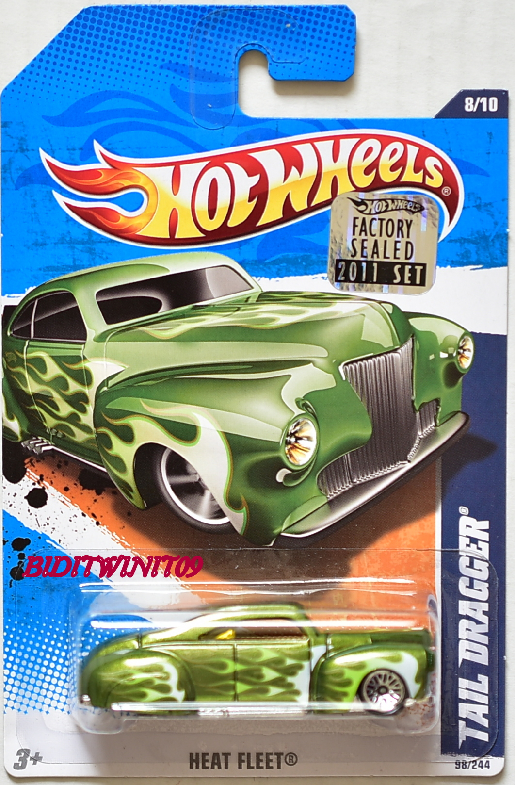 HOT WHEELS 2011 HEAT FLEET TAIL DRAGGER #8/10 GREEN FACTORY SEALED