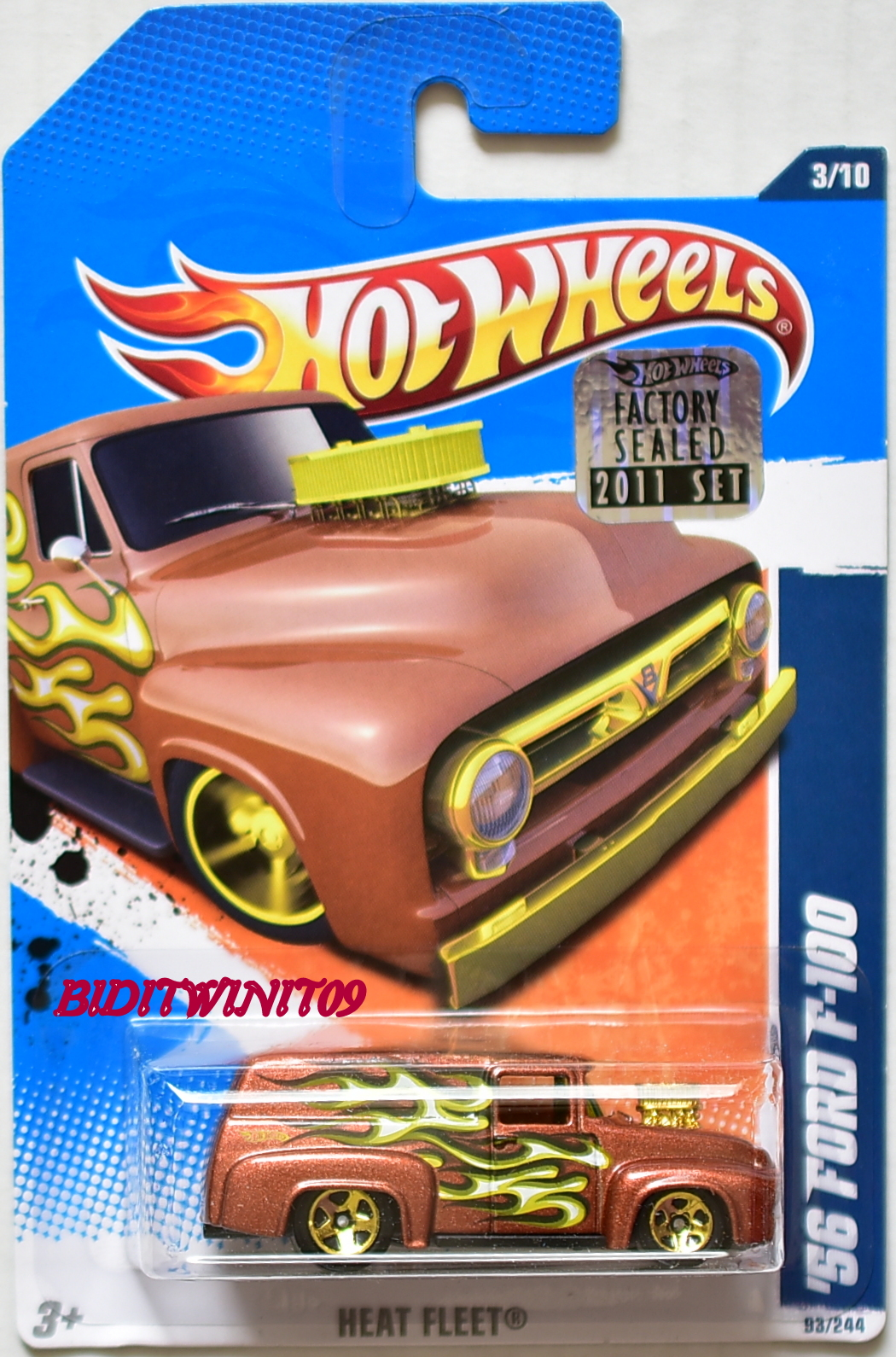 HOT WHEELS 2011 HEAT FLEET '56 FORD F-100 #3/10 BROWN FACTORY SEALED