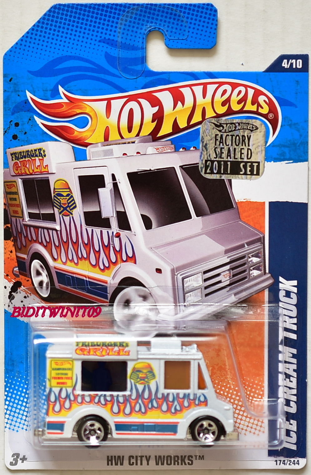 HOT WHEELS 2011 HW CITY WORKS ICE CREAM TRUCK #4/10 WHITE FACTORY SEALED