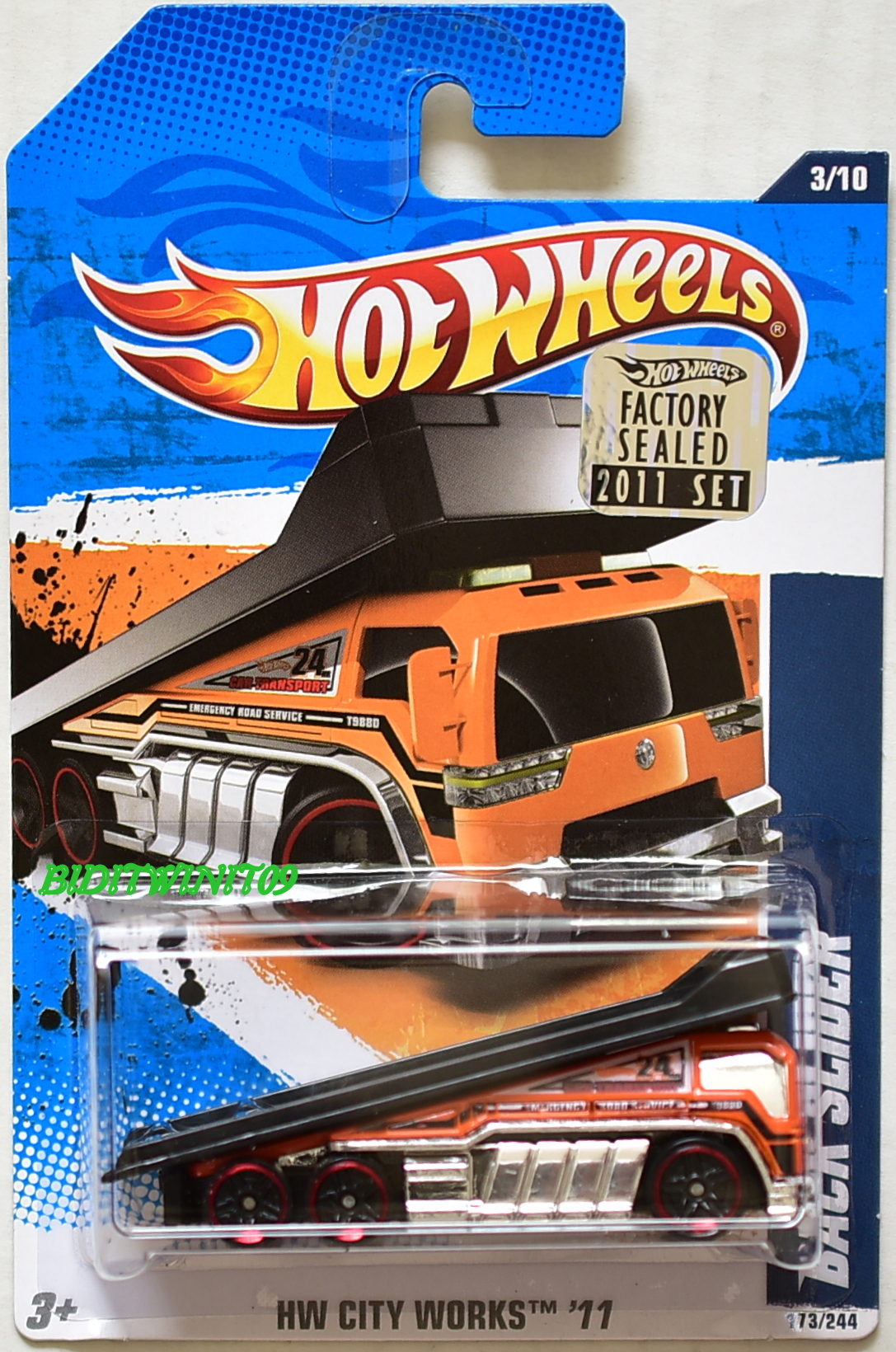 HOT WHEELS 2011 HW CITY WORKS BACK SLIDER #3/10 ORANGE FACTORY SEALED