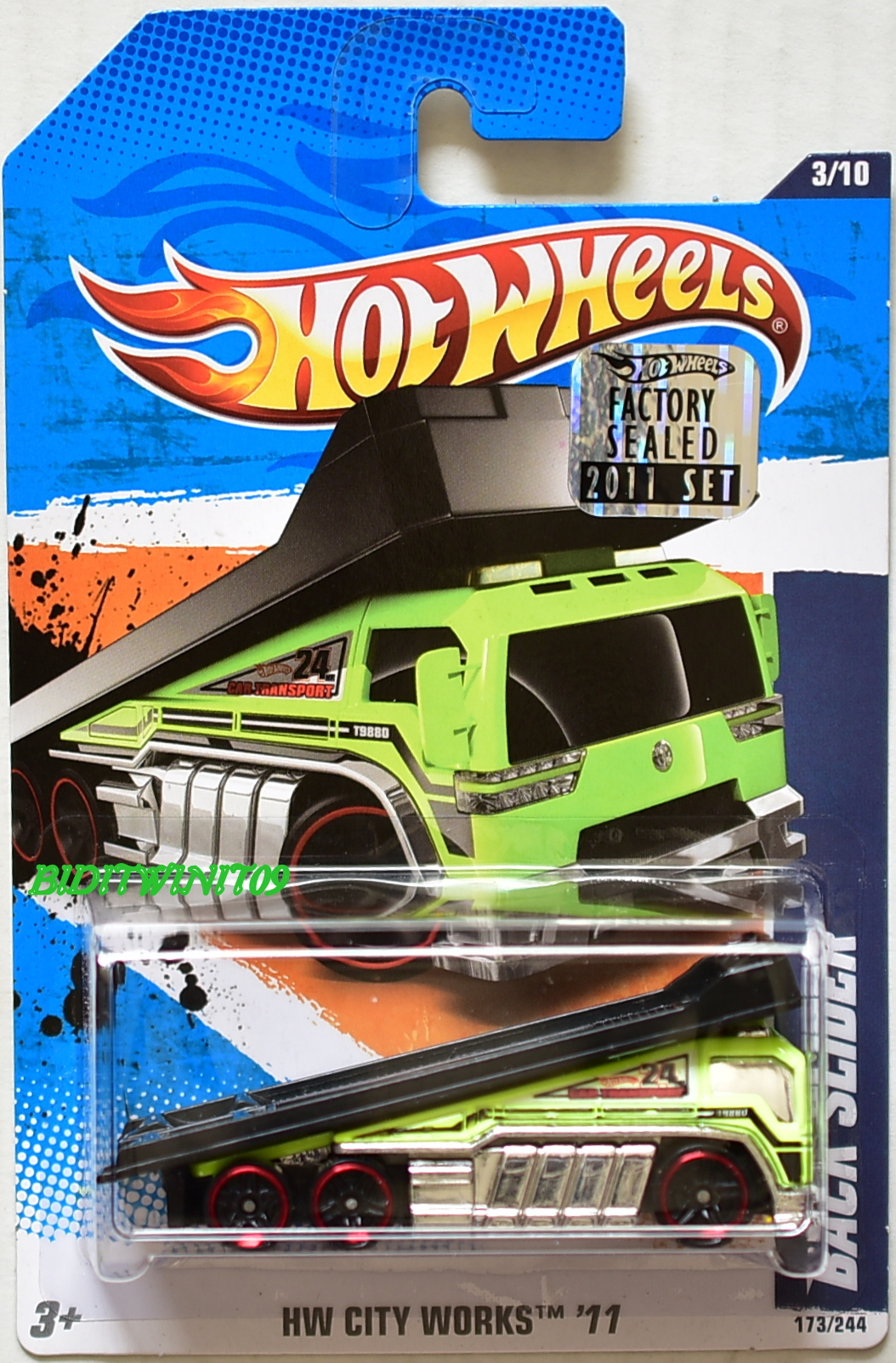 HOT WHEELS 2011 HW CITY WORKS BACK SLIDER #3/10 GREEN FACTORY SEALED