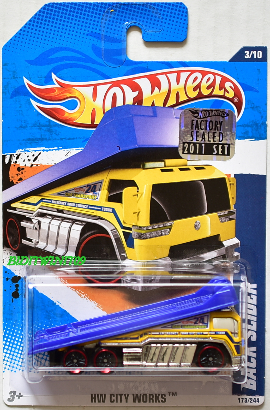 HOT WHEELS 2011 HW CITY WORKS BACK SLIDER #3/10 YELLOW FACTORY SEALED E+