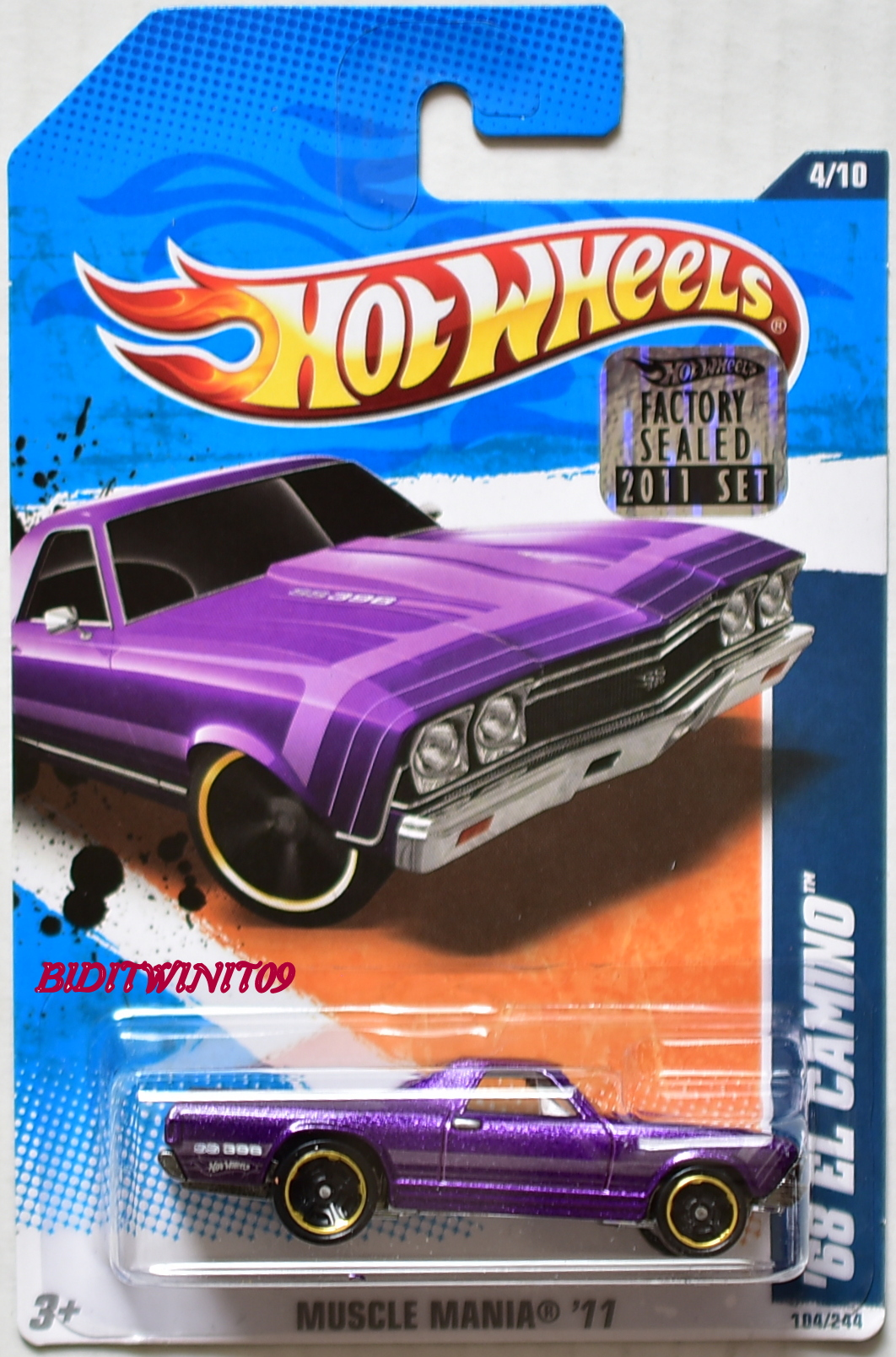 HOT WHEELS 2011 MUSCLE MANIA '68 EL CAMINO #4/10 PURPLE FACTORY SEALED