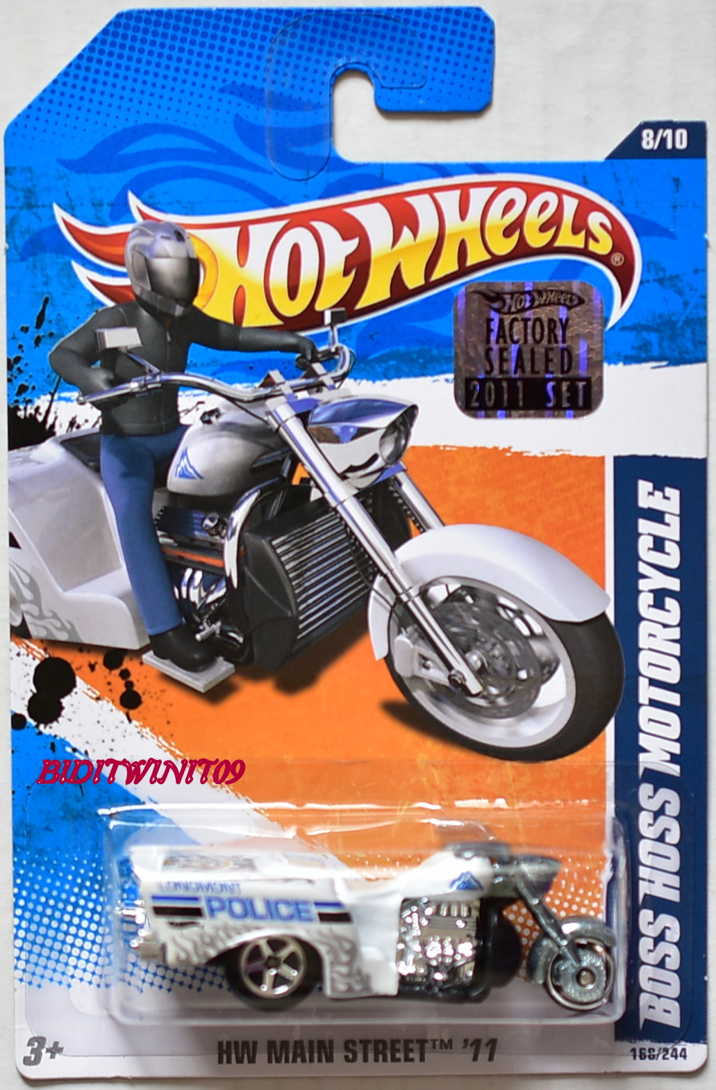 HOT WHEELS 2011 MAIN STREET BOSS HOSS MOTORCYCLE #8/10 WHITE FACTORY SEALED