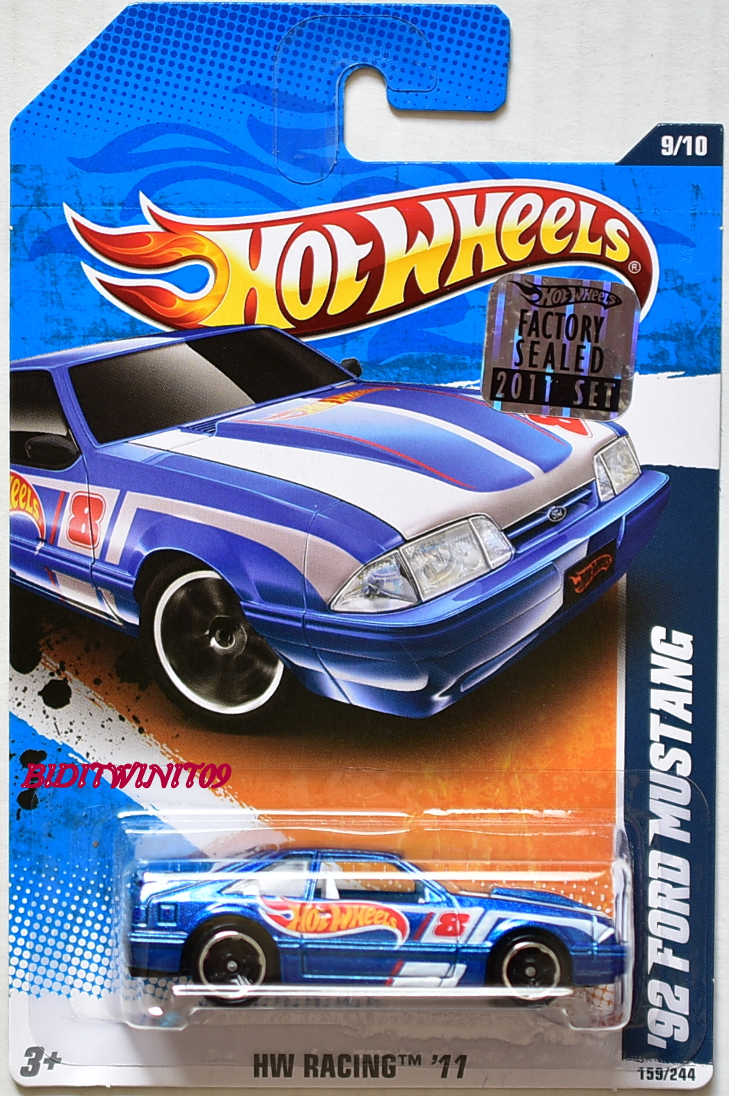 HOT WHEELS 2011 HW RACING '92 FORD MUSTANG #9/10 BLUE FACTORY SEALED
