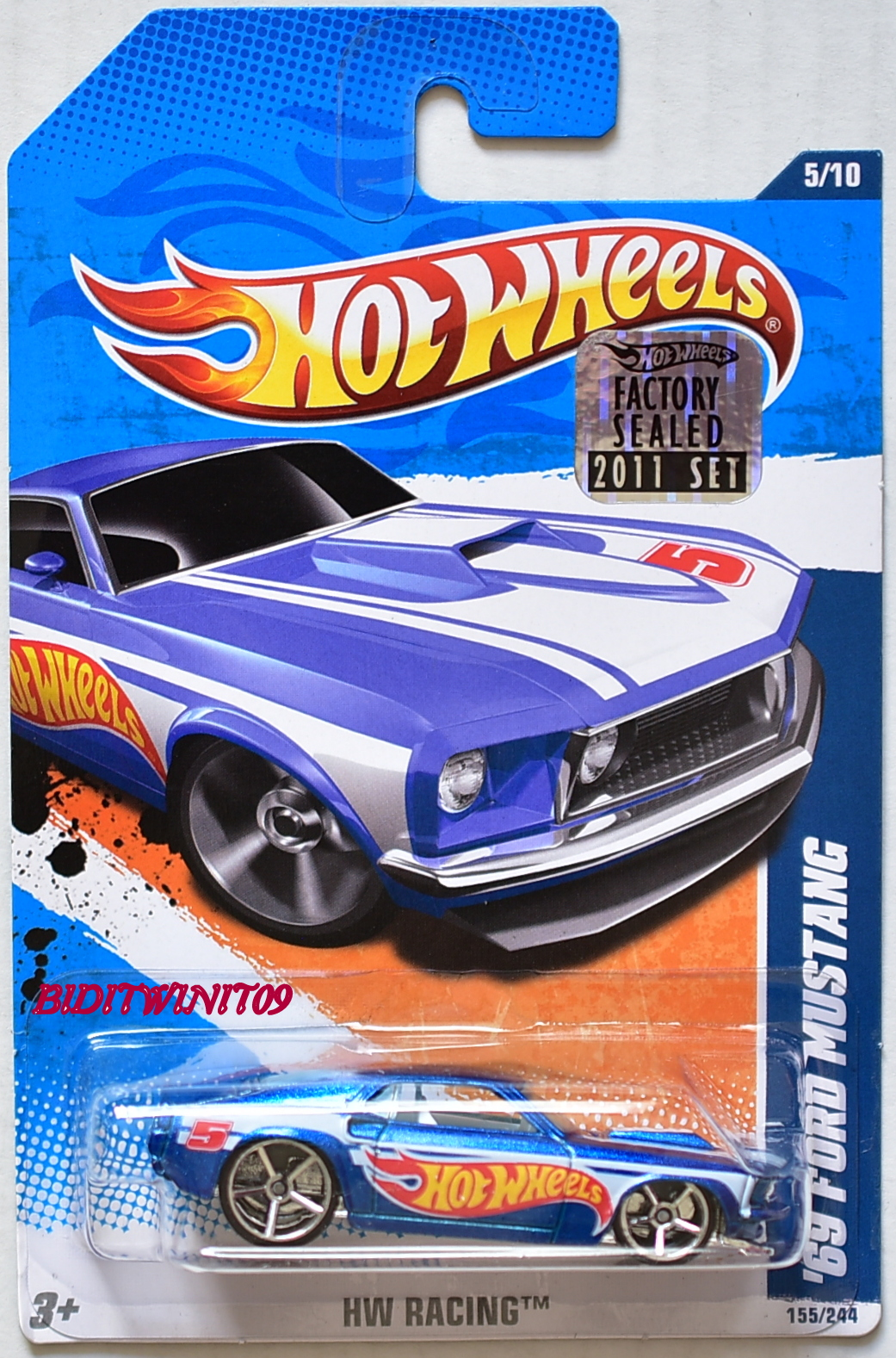 HOT WHEELS 2011 HW RACING '69 FORD MUSTANG #5/10 BLUE FACTORY SEALED
