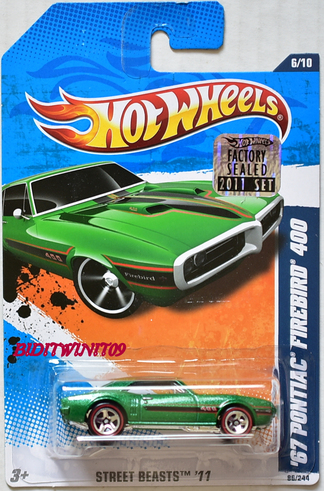 HOT WHEELS 2011 '67 PONTIAC FIREBIRD 400 W/ REDLINE TIRES FACTORY SEALED
