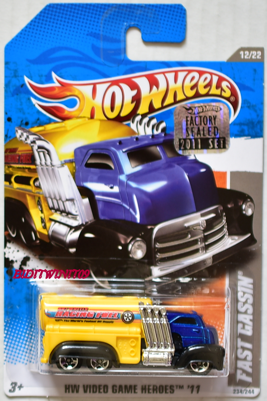 HOT WHEELS 2011 HW VIDEO GAME HEROES FAST GASSIN #12/22 BLUE FACTORY SEALED