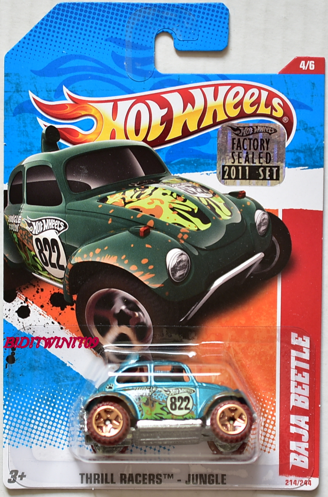 HOT WHEELS 2011 THRILL RACERS - JUNGLE BAJA BEETLE #4/6 TURQUOISE FACTORY SEALED