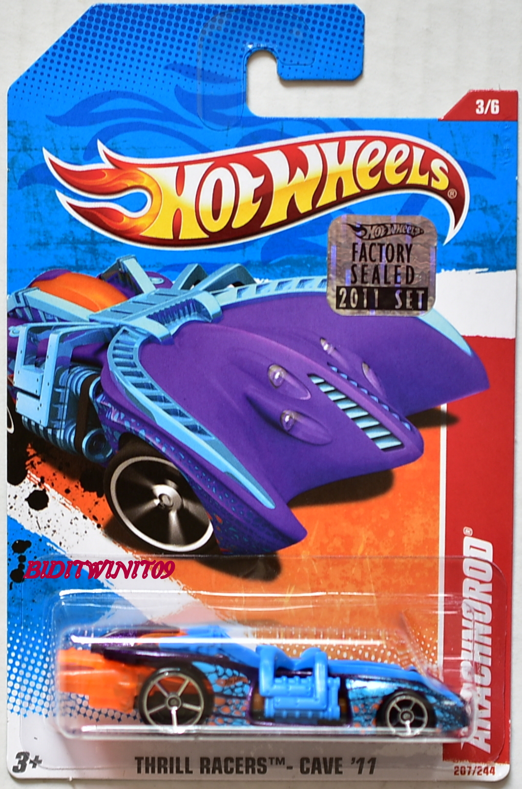 HOT WHEELS 2011 THRILL RACERS - CAVE ARACHNOROD #3/6 BLUE FACTORY SEALED