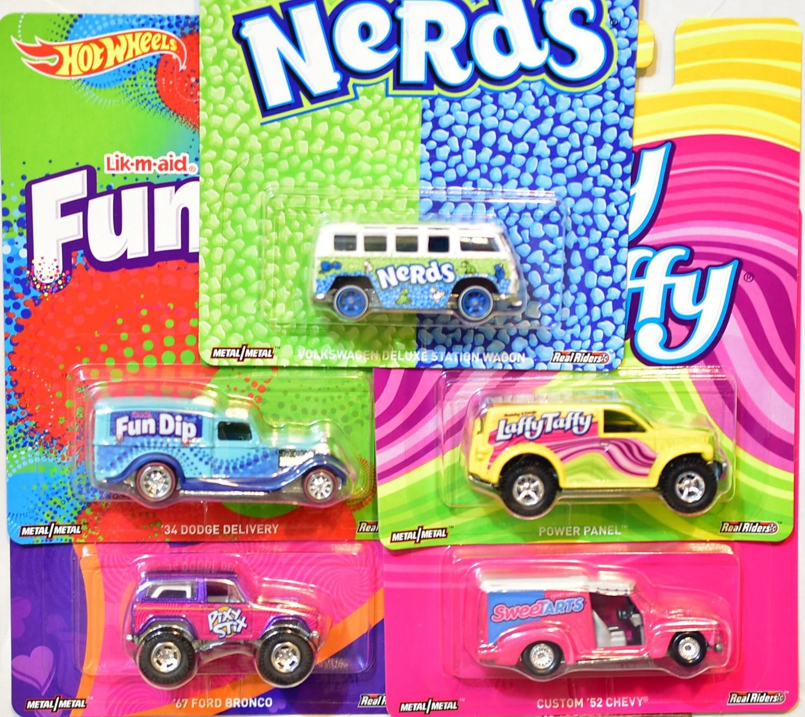 HOT WHEELS POP CULTURE CANDY SERIES SET OF 5 FORD DODGE CHEVY VW DELUXE