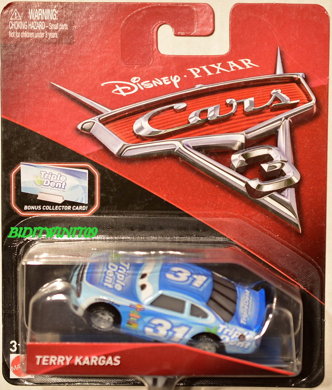 DISNEY PIXAR CARS 3 TERRY KARGAS BONUS COLLECTOR CARD