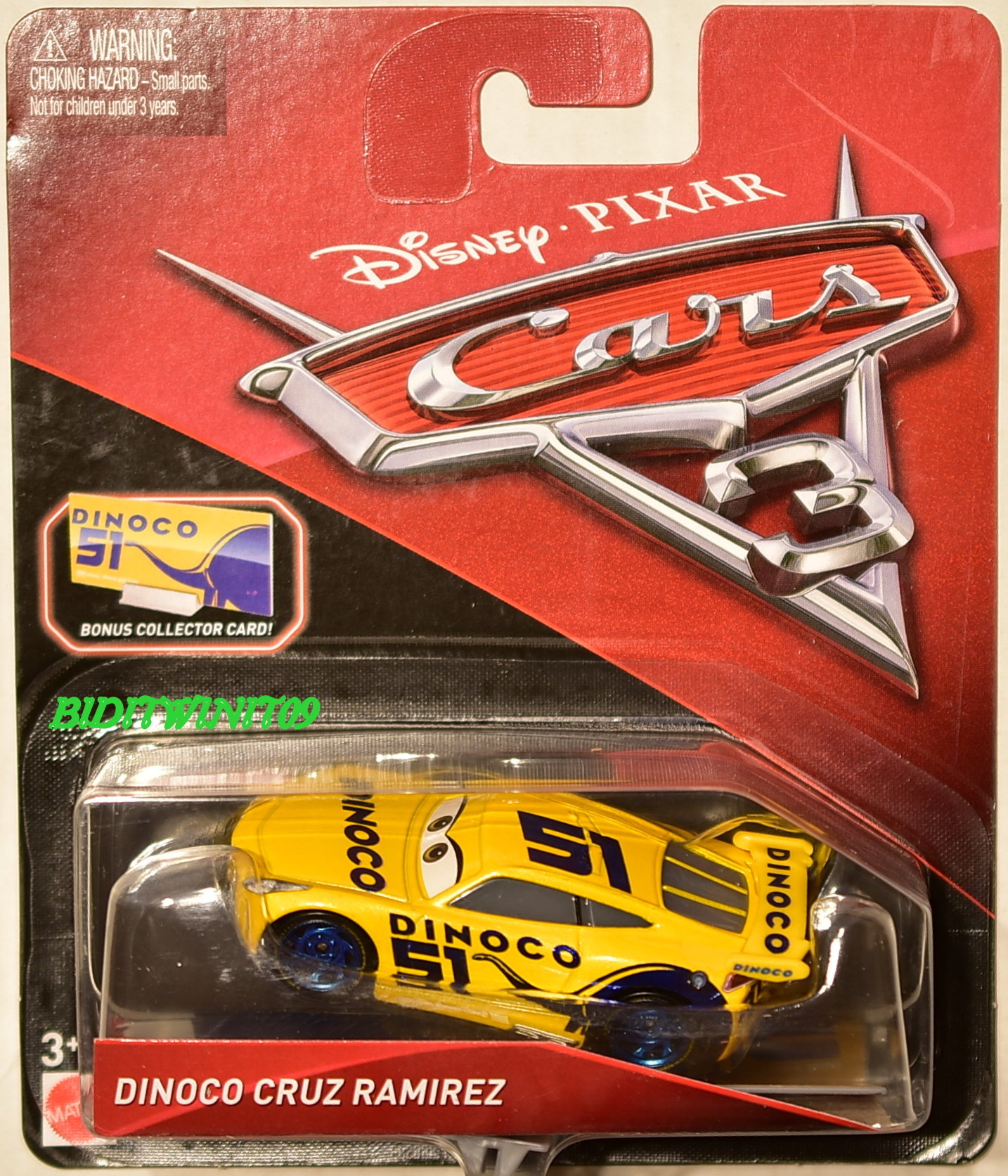 DISNEY PIXAR CARS 3 DINOCO CRUZ RAMIREZ BONUS COLLECTOR CARD