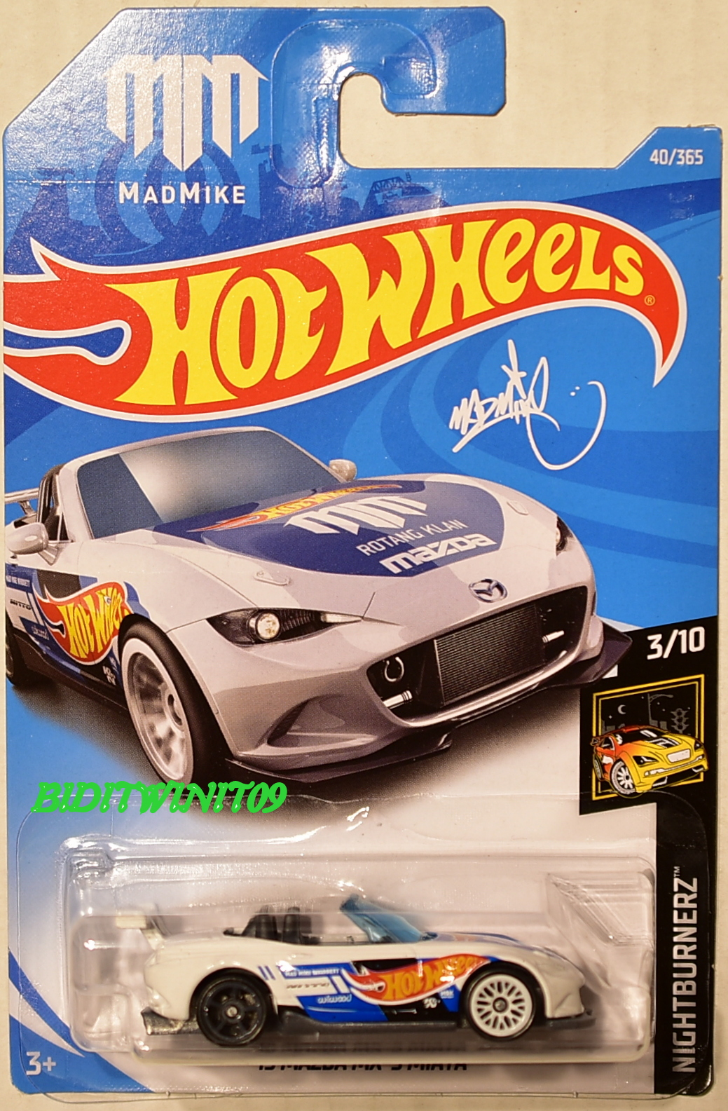 hot wheels 2018 nightburnerz mazda mx 5 miata white 0004656. Black Bedroom Furniture Sets. Home Design Ideas