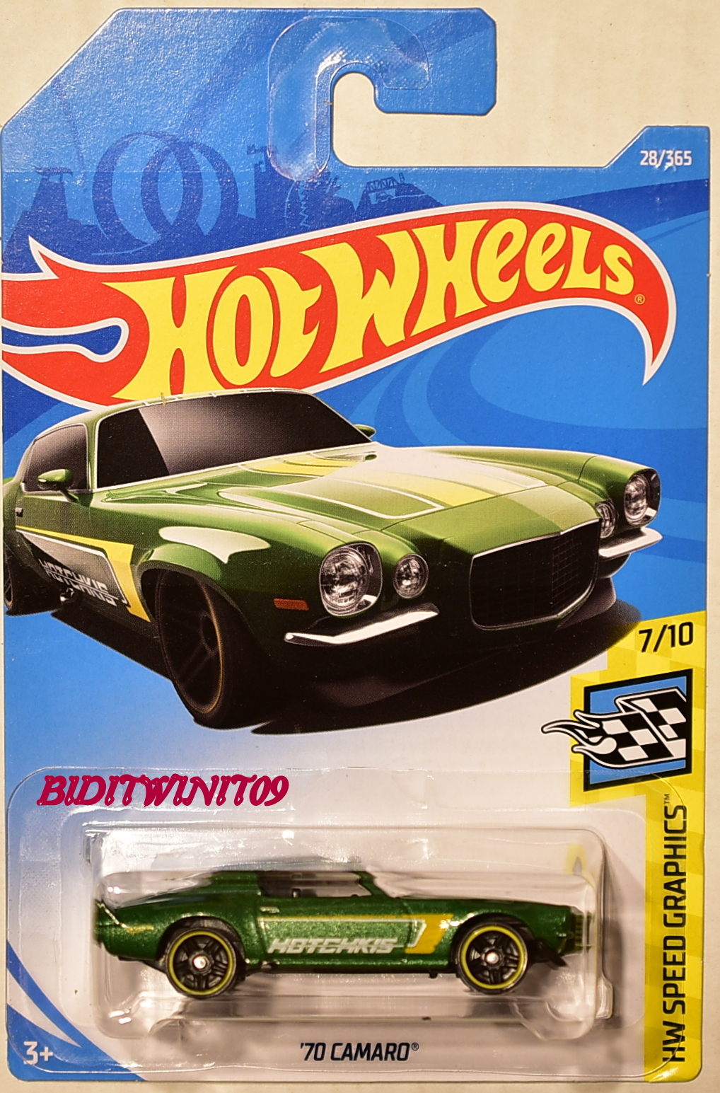 HOT WHEELS 2018 HW SPEED GRAPHICS '70 CAMARO GREEN
