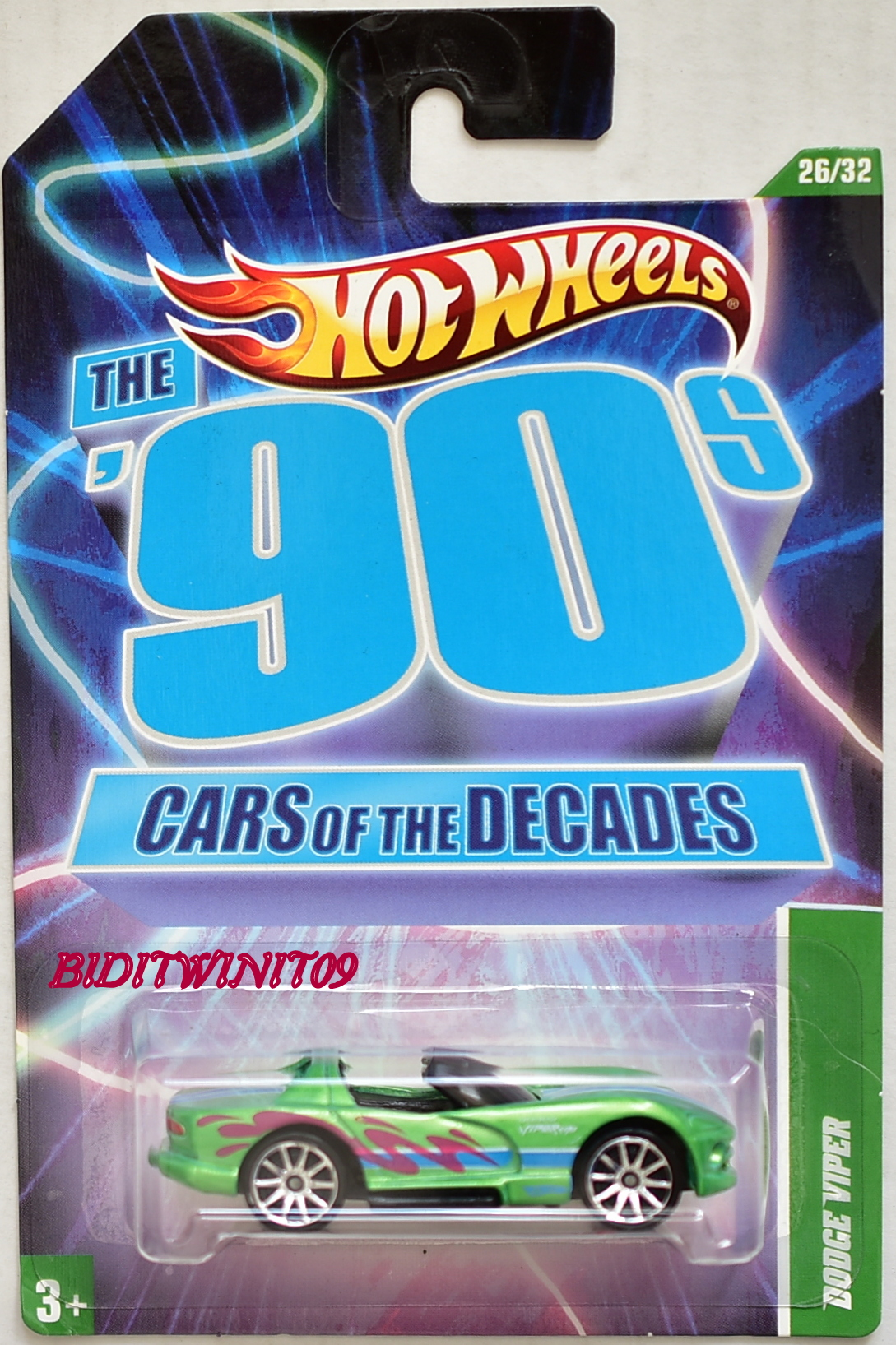 HOT WHEELS THE 90s CARS OF THE DECADES DODGE VIPER GREEN