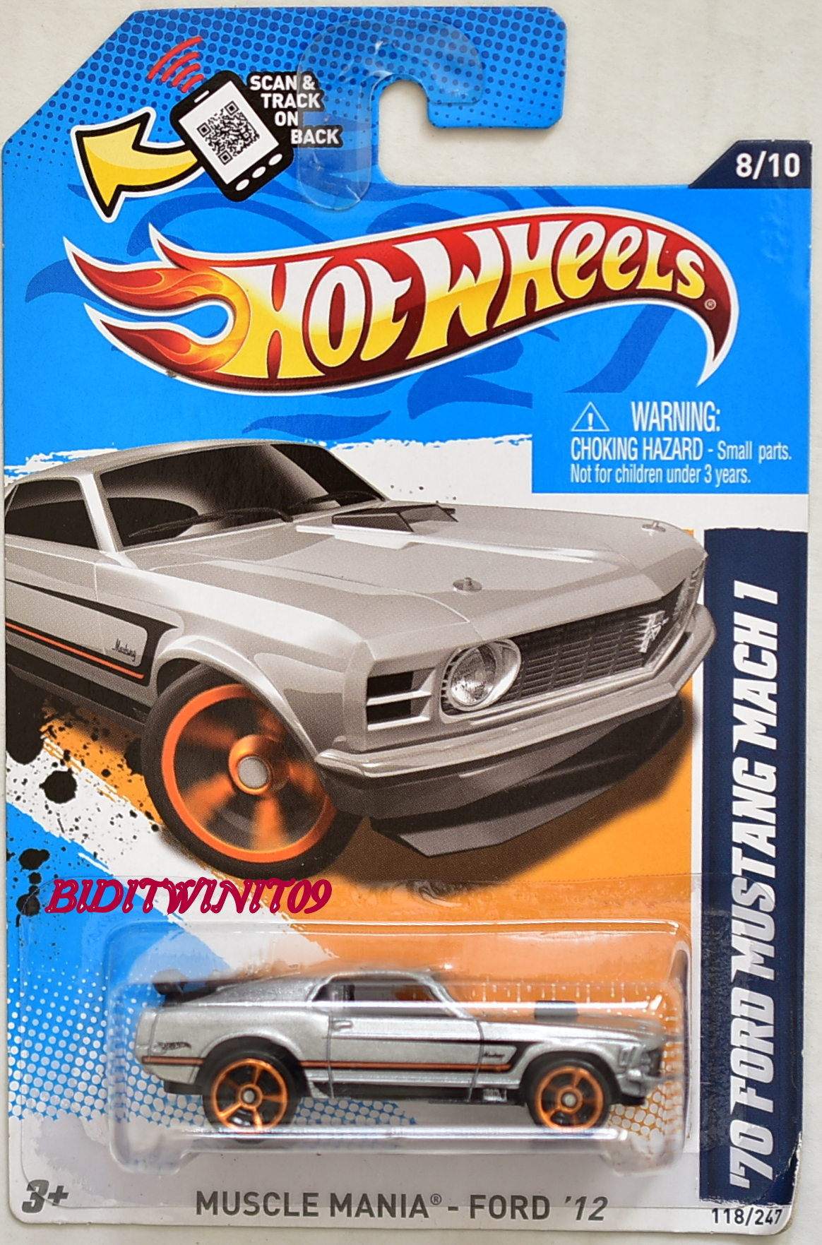 HOT WHEELS 2012 MUSCLE MANIA- FORD '70 FORD MUSTANG MACH 1 #8/10