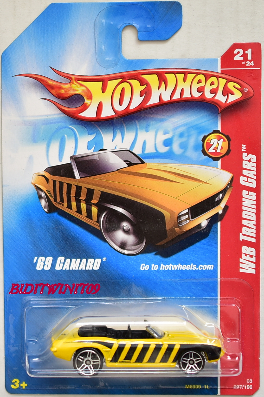 HOT WHEELS 2008 WEB TRADING CARS '69 CAMARO YELLOW - Click Image to Close