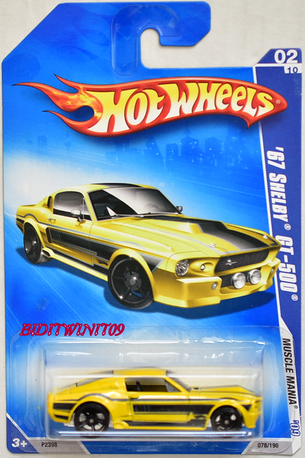 HOT WHEELS 2009 MUSCLE MANIA '67 SHELBY GT-500 YELLOW E+