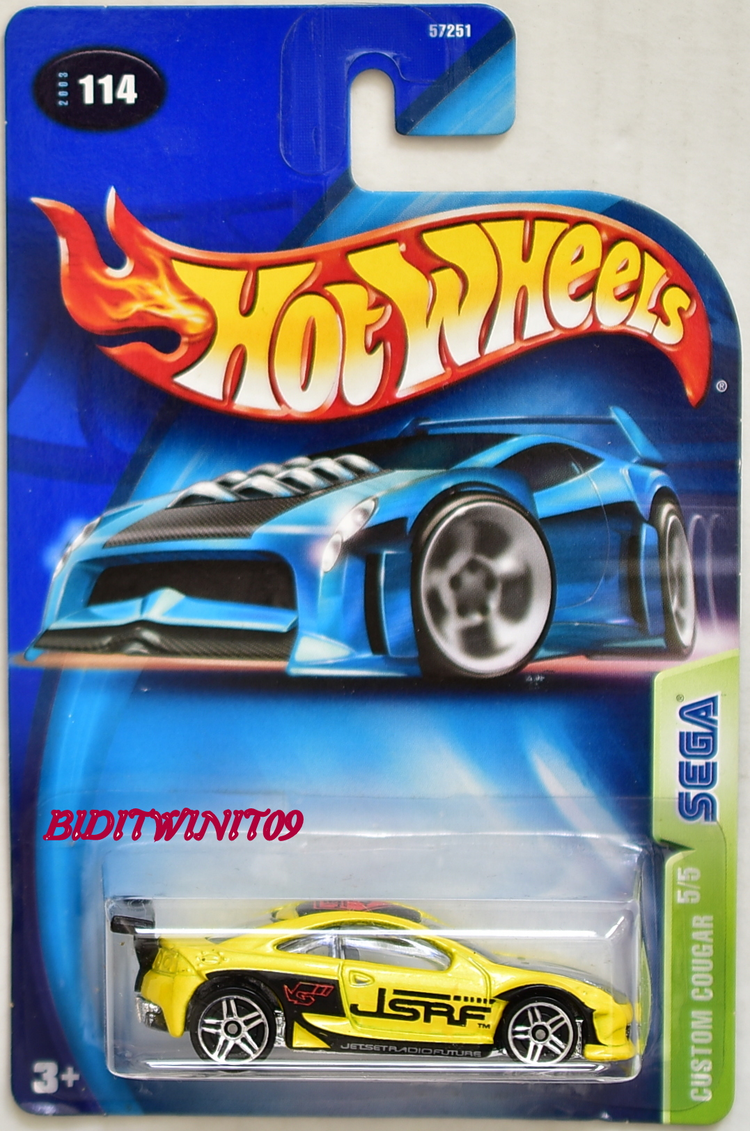 HOT WHEELS 2003 SEGA CUSTOM COUGAR #114 YELLOW