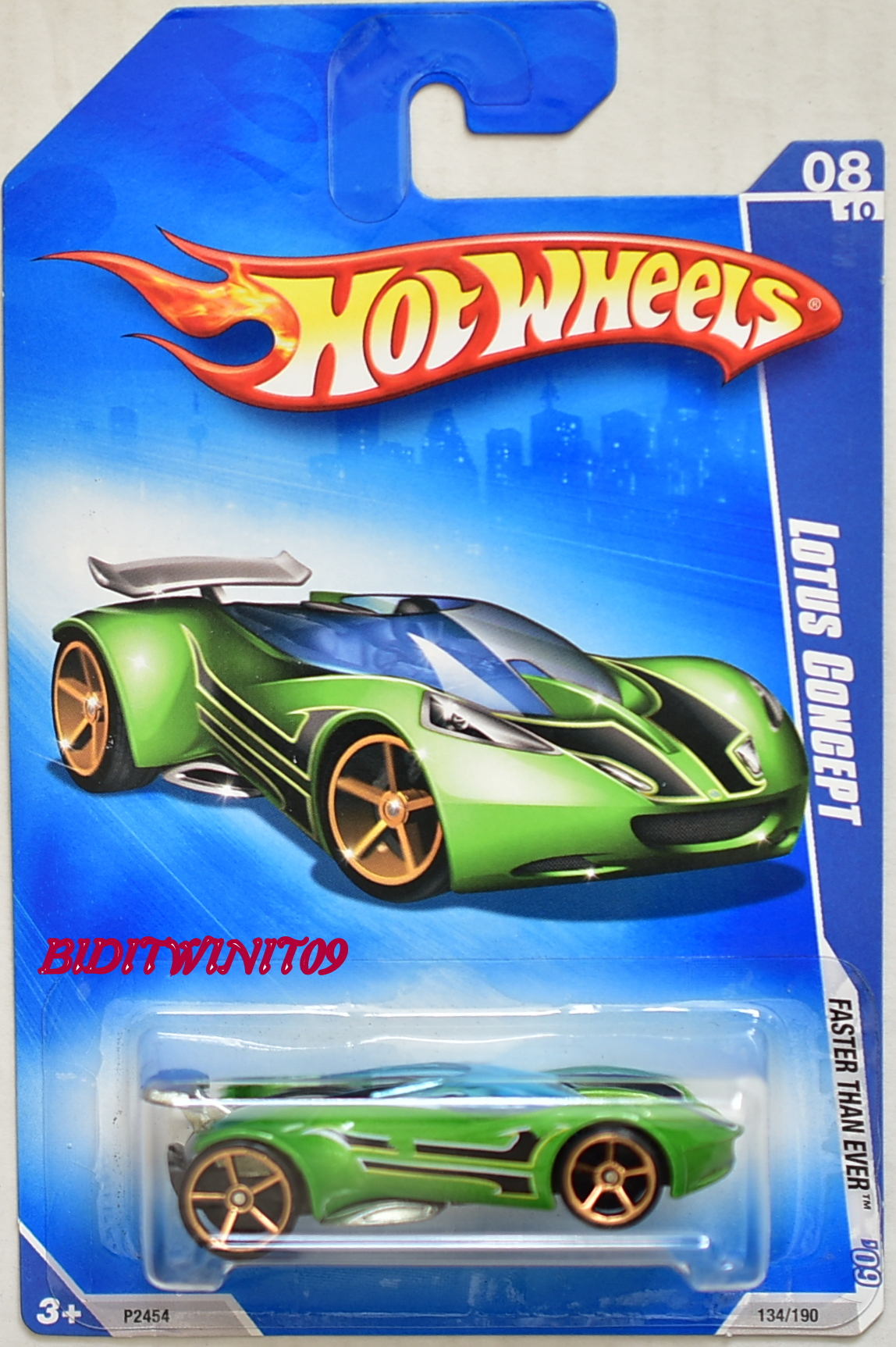 HOT WHEELS 2009 FASTER THAN EVER LOTUS CONCEPT #08/10 GREEN E+