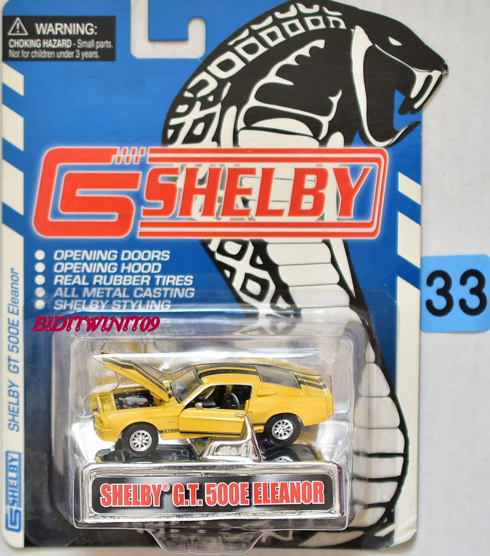 SHELBY GT 500E ELEANOR 1/64 RR TIRES OPEN HOOD AND DOORS E+