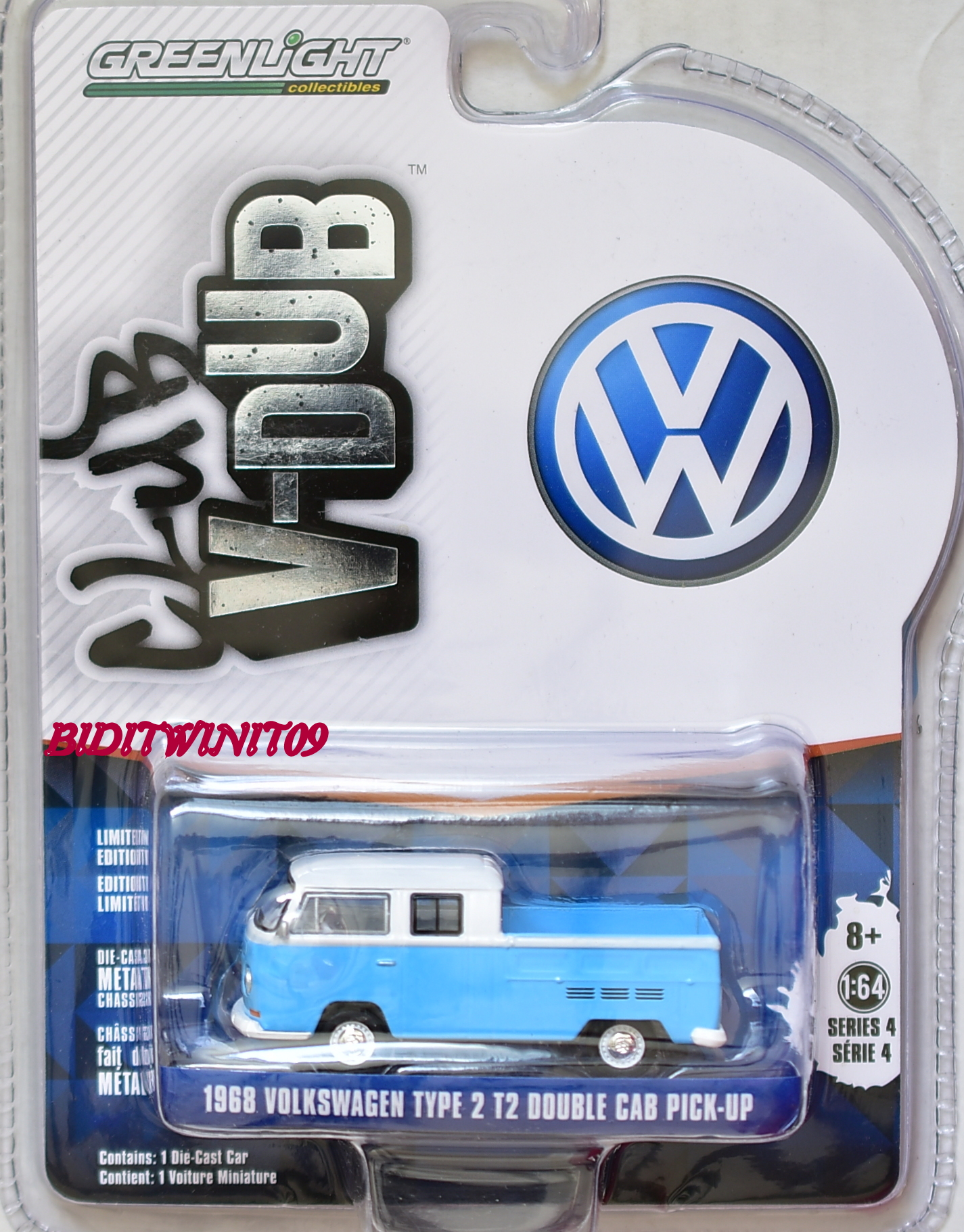 GREENLIGHT 2017 CLUB V-DUB 1968 VOLKSWAGEN TYPE 2 T2 DOUBLE CAB PICK-UP