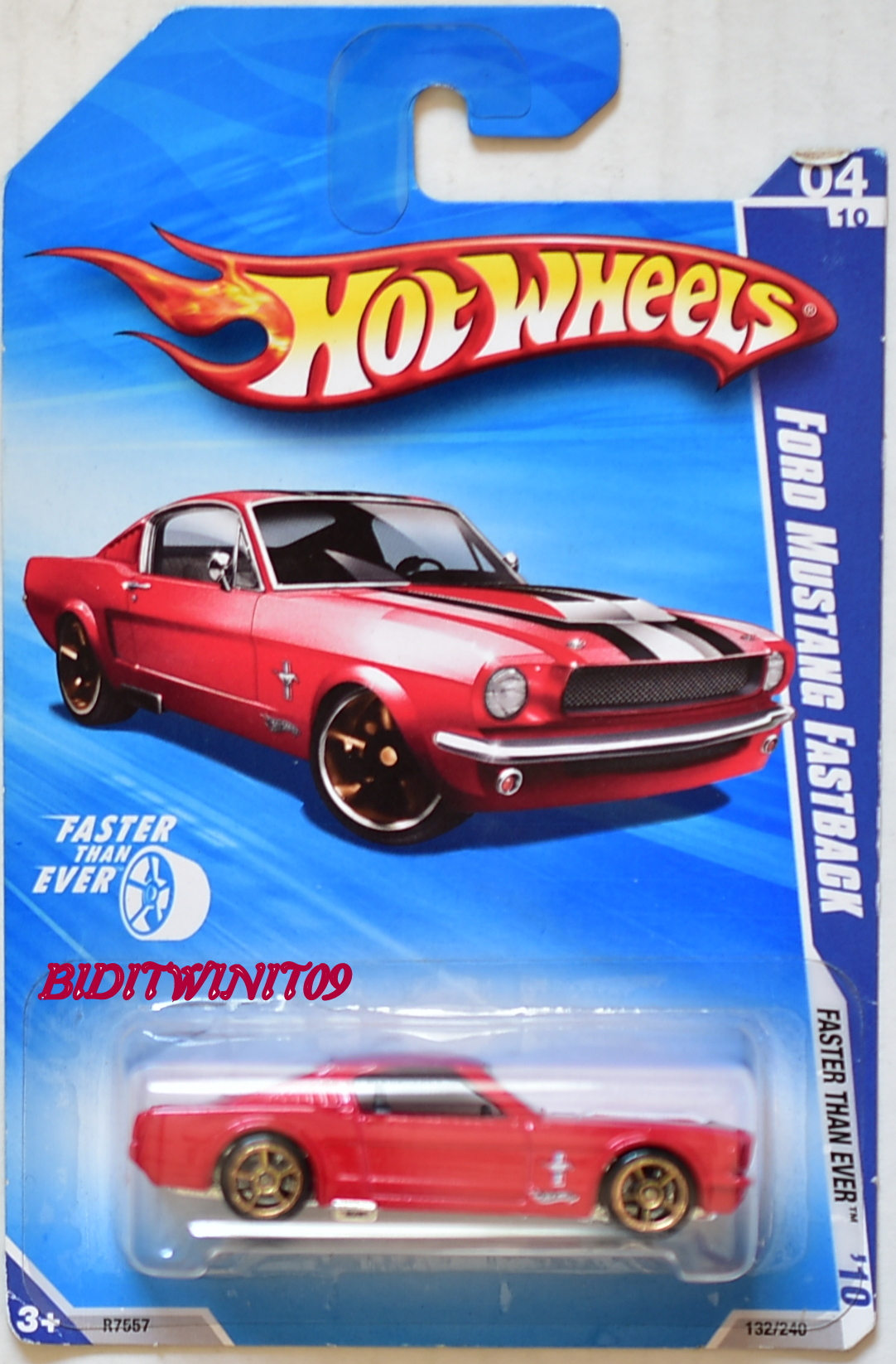 HOT WHEELS 2010 FASTER THAN EVER FORD MUSTANG FASTBACK #04/10 RED E+